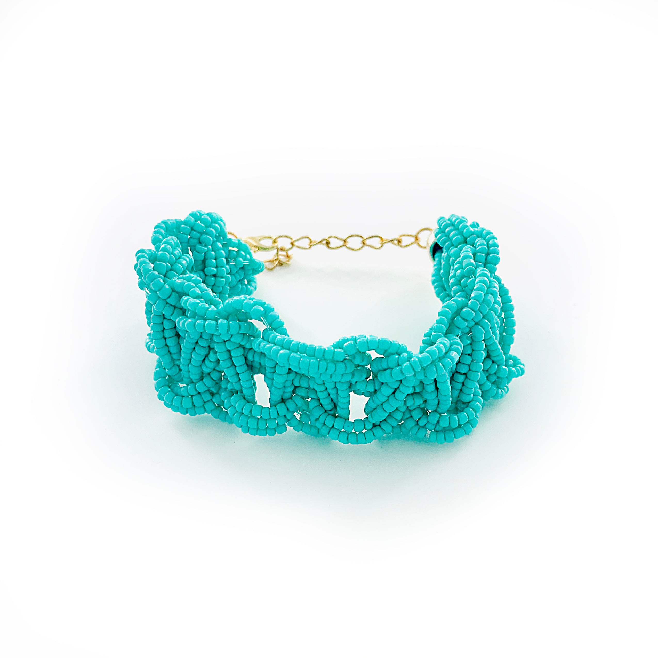 Turquoise braided bracelet with chain clasp