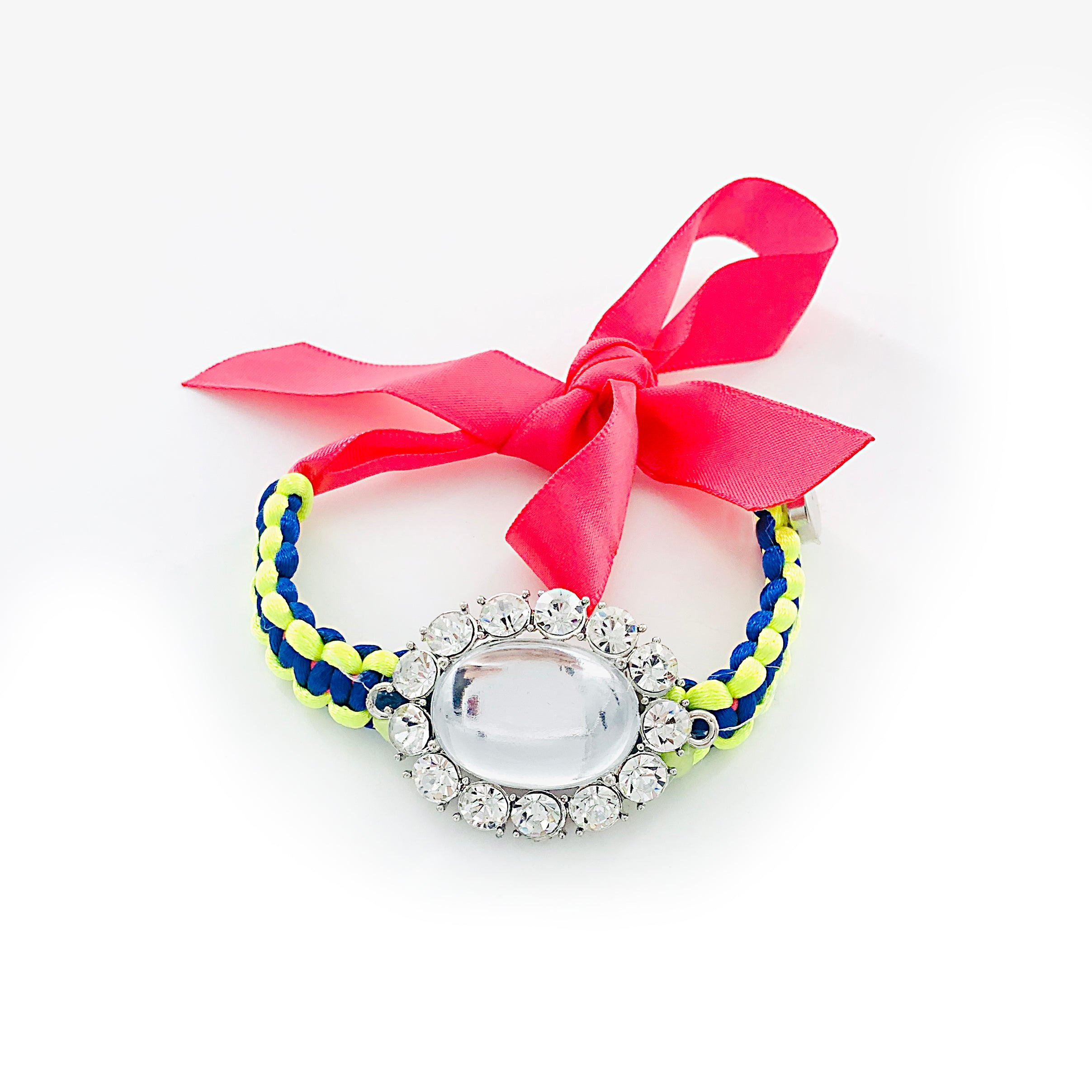 Large diamante stone with Ribbon and Rope band