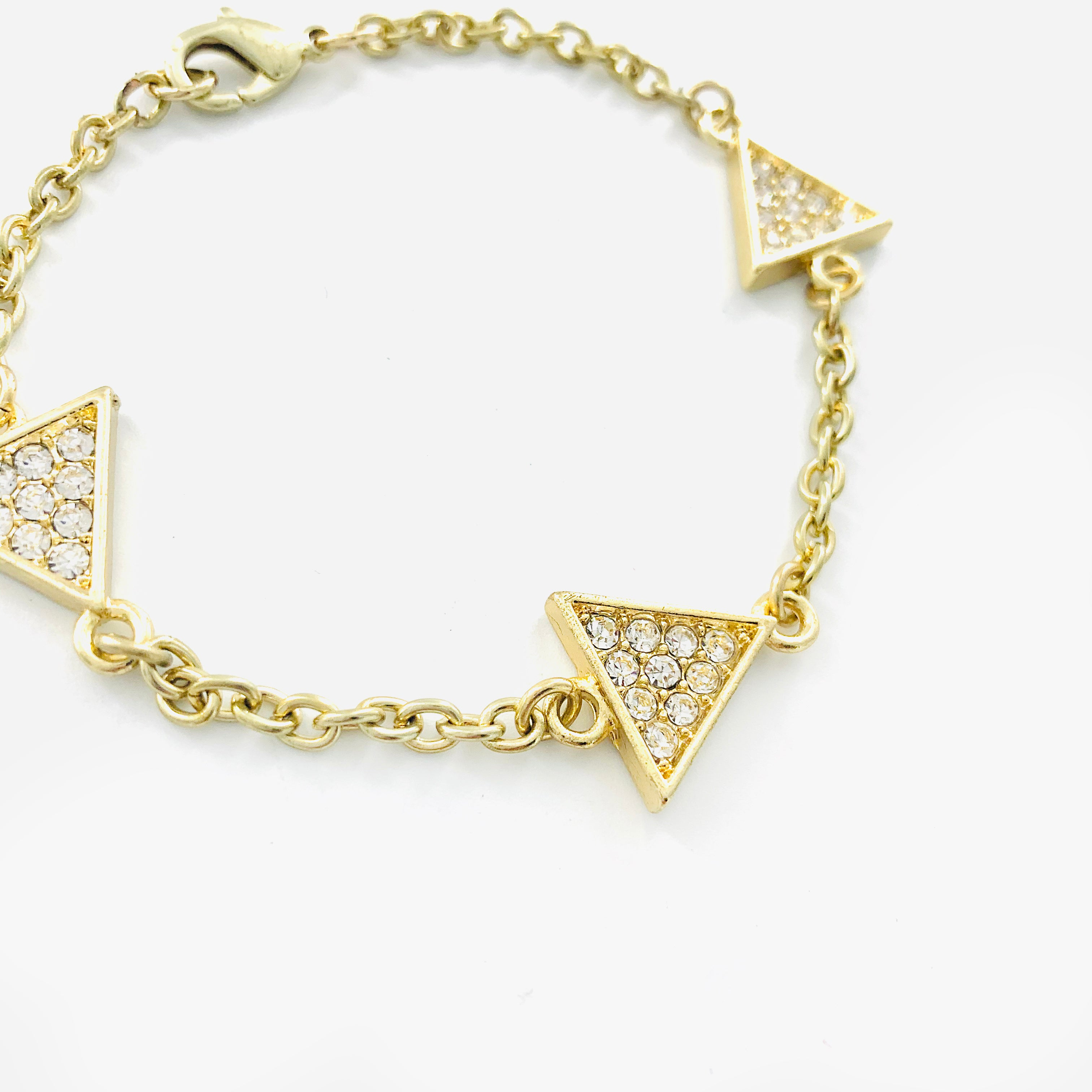 Diamante triangles with gold chain
