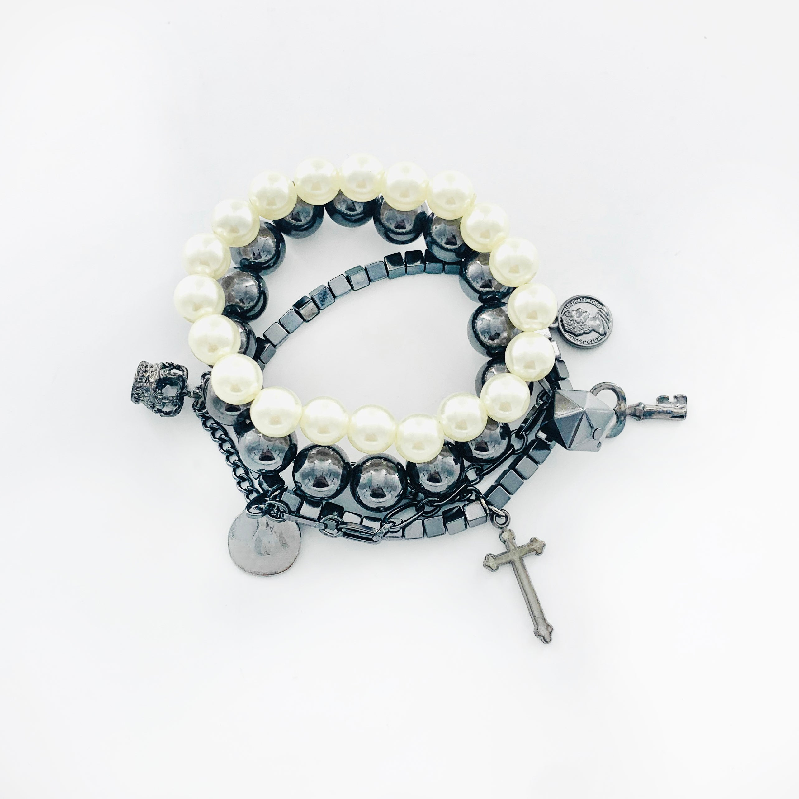 Gunmetal and Pearl bracelets with Cross and Crown charms