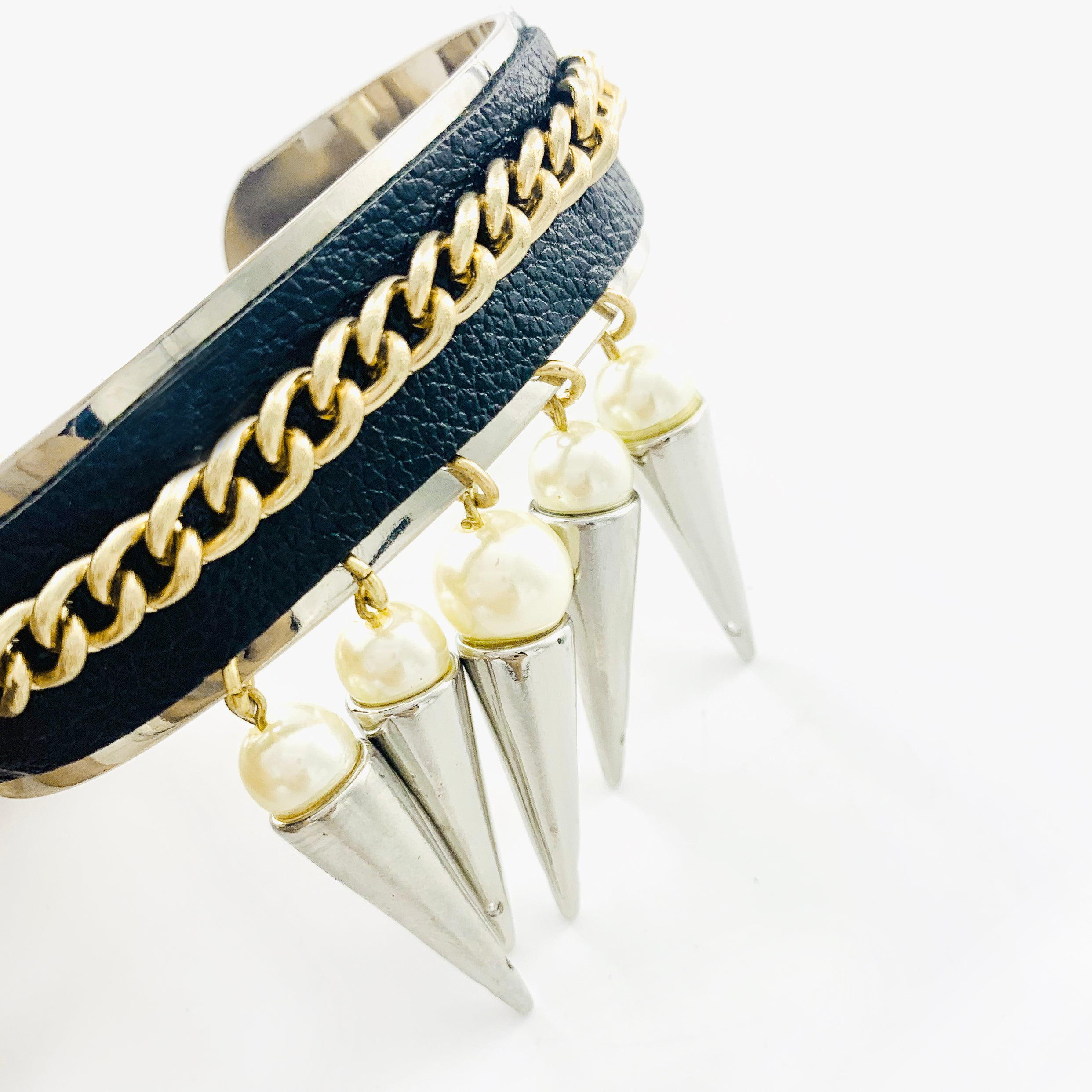 Black leather cuff with dangling pearl charms