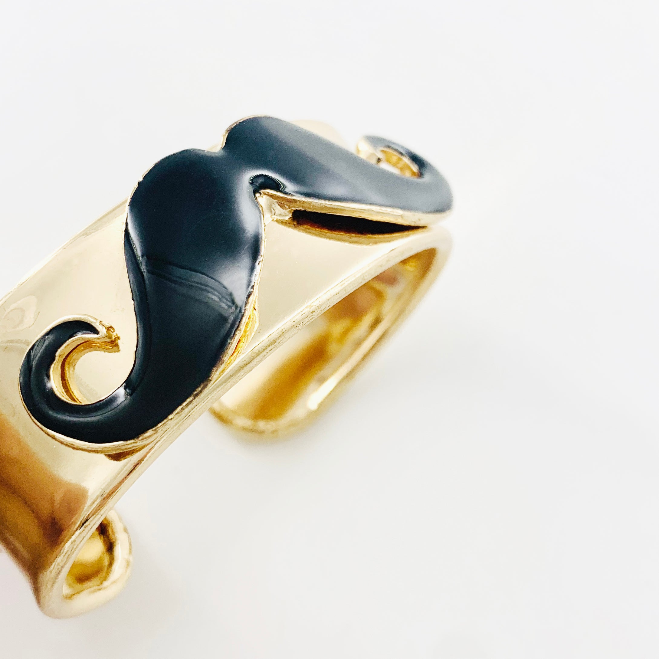 Gold and black enamel printed mustache cuff