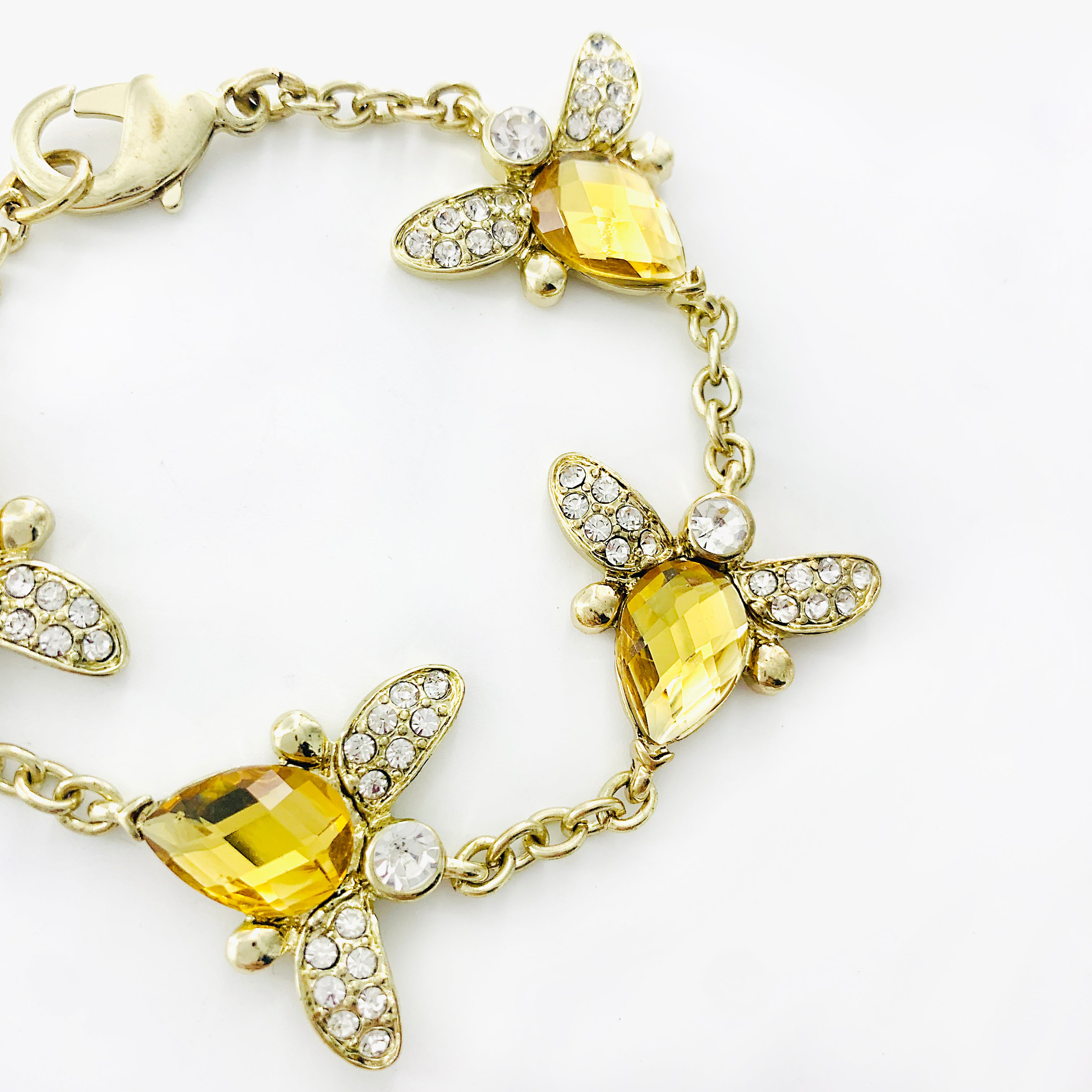 Yellow diamante crystal bees on thin gold chain