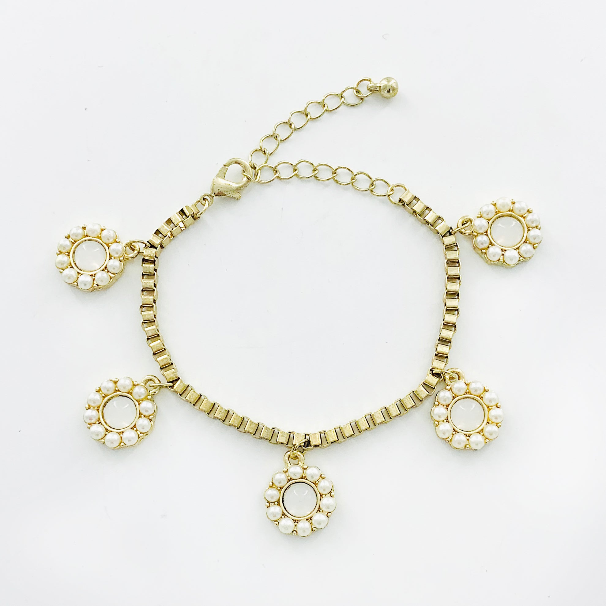 Gold chain with pearl flower dangling charms