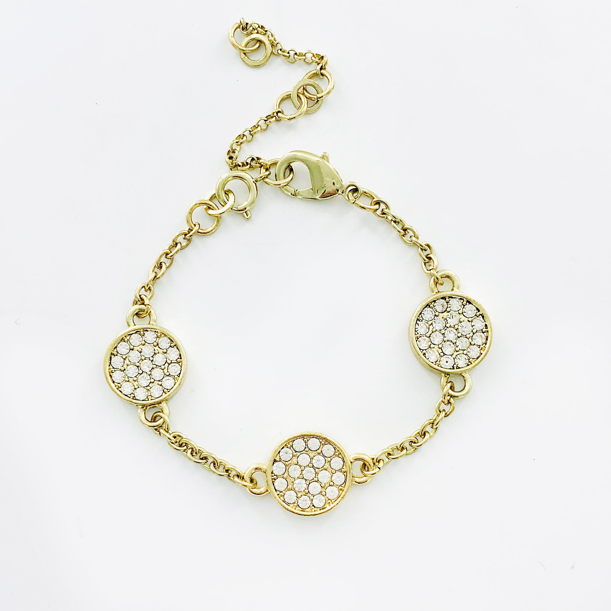 Diamante circles with gold chain