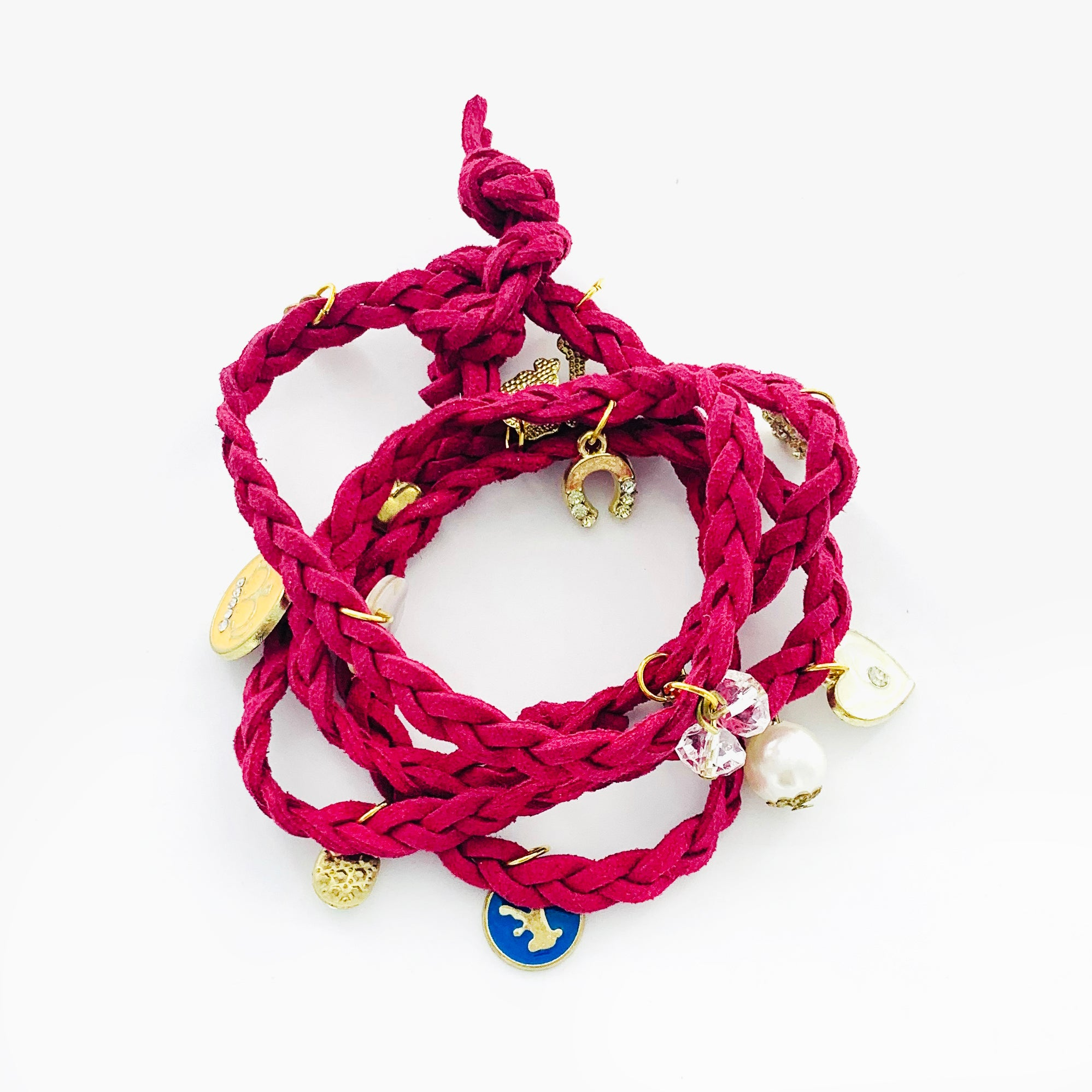 Maroon red rope leather wrap with charms