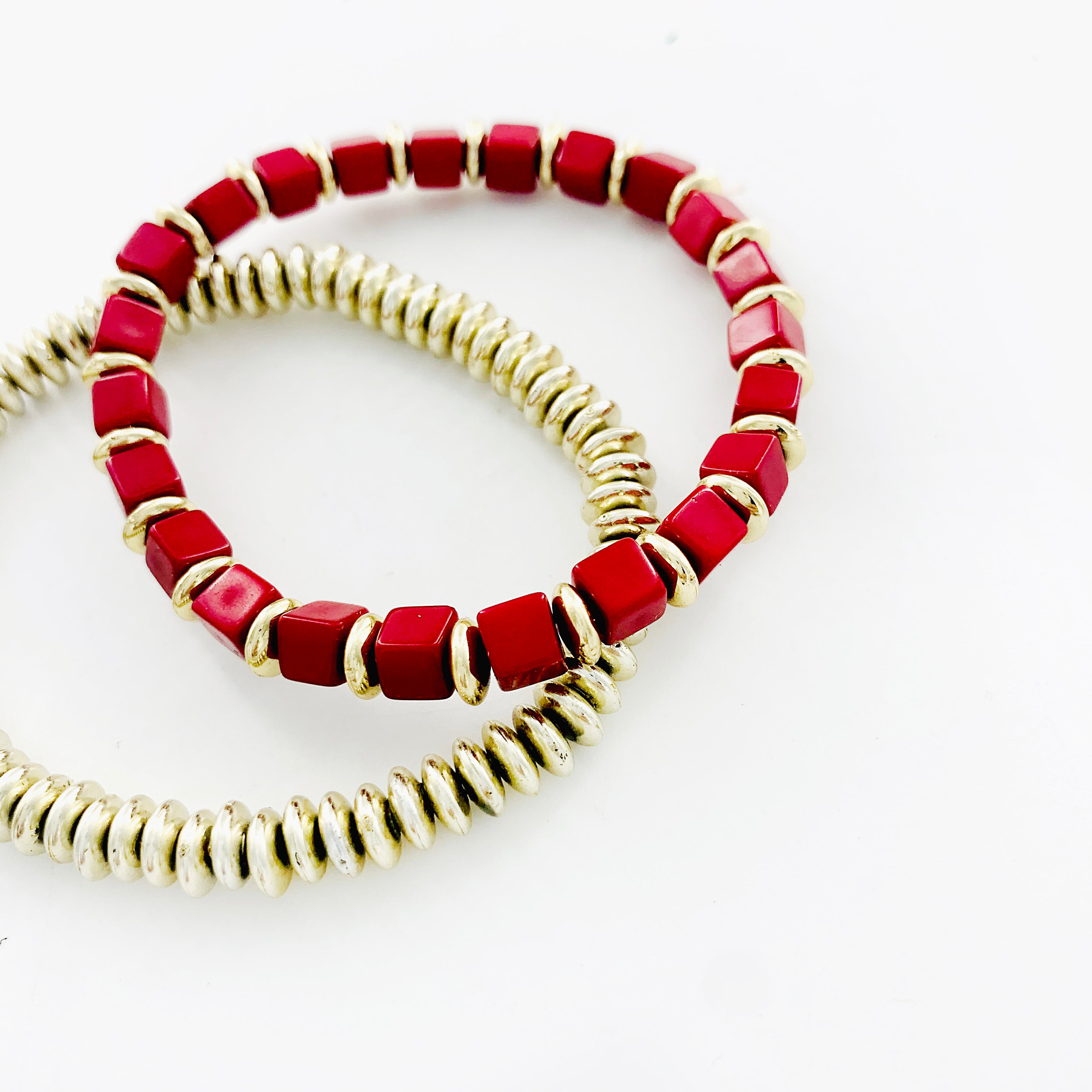 Red and gold beaded double bracelets