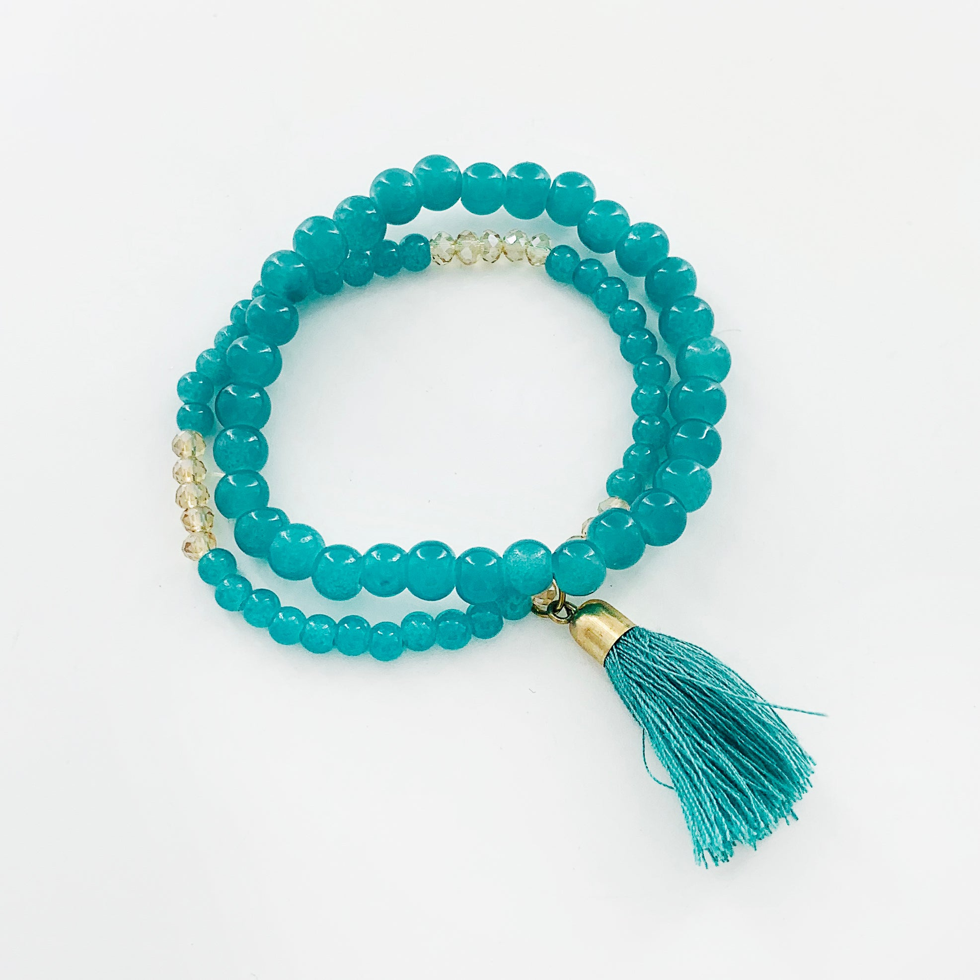 Turquoise beaded bracelets with tassel charm