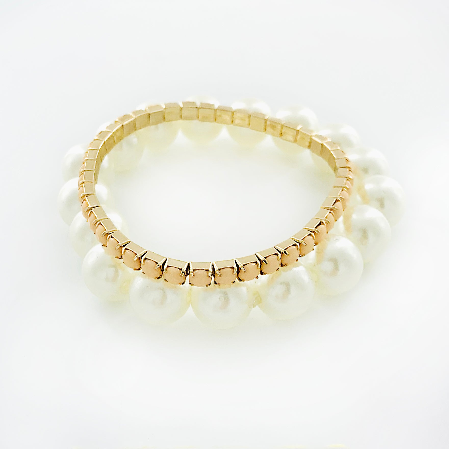 Pearl and beige beaded double bracelets