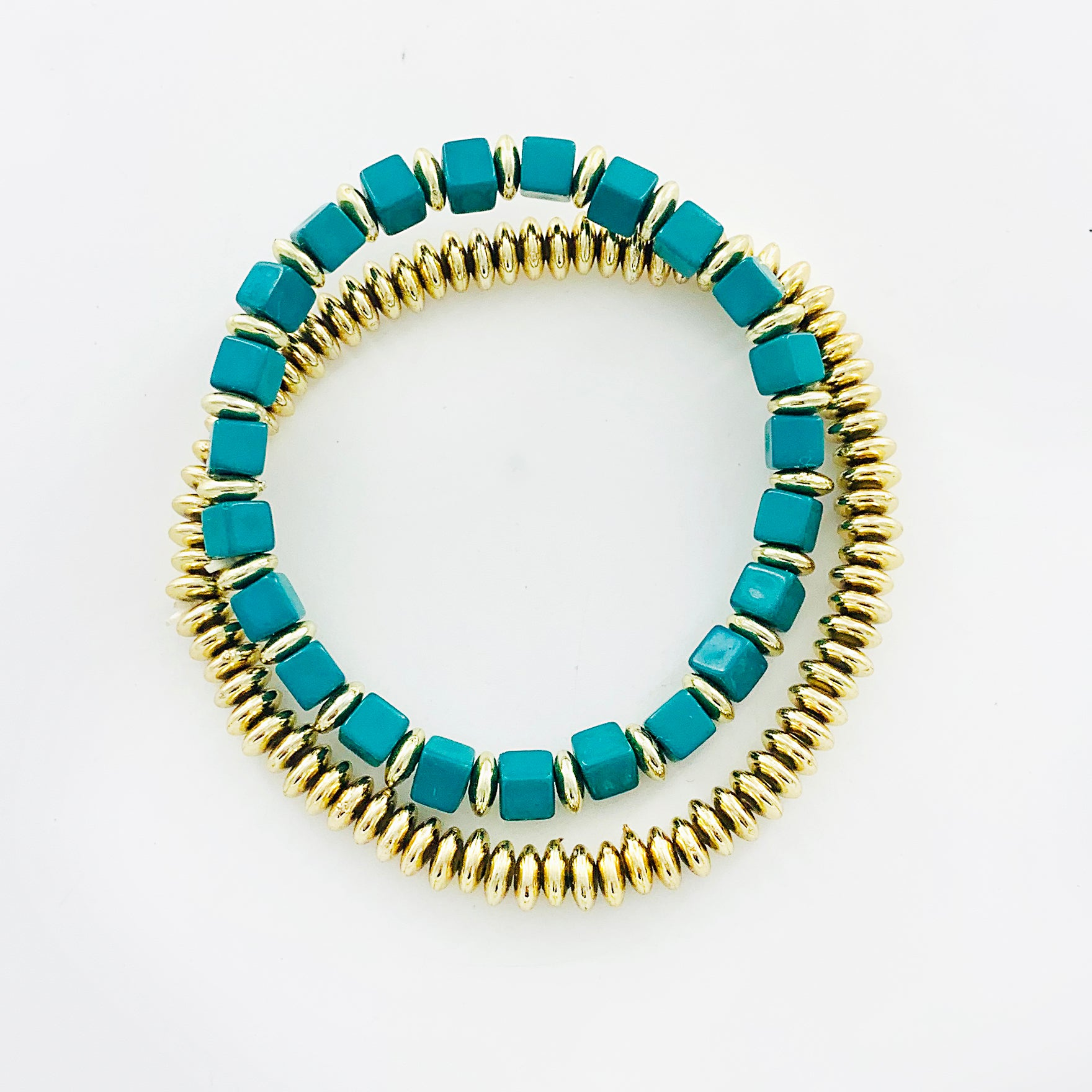 Teal and gold beaded double bracelets