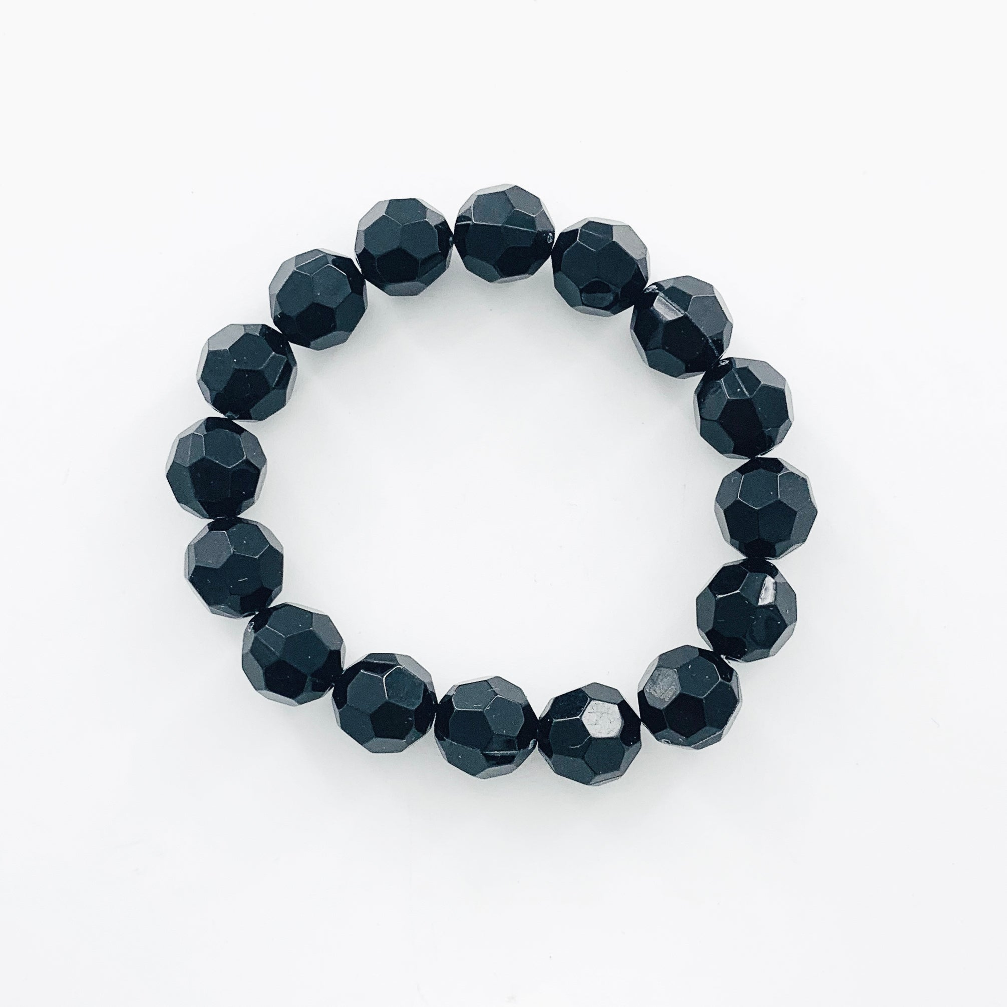 Black faceted beaded elastic bracelet