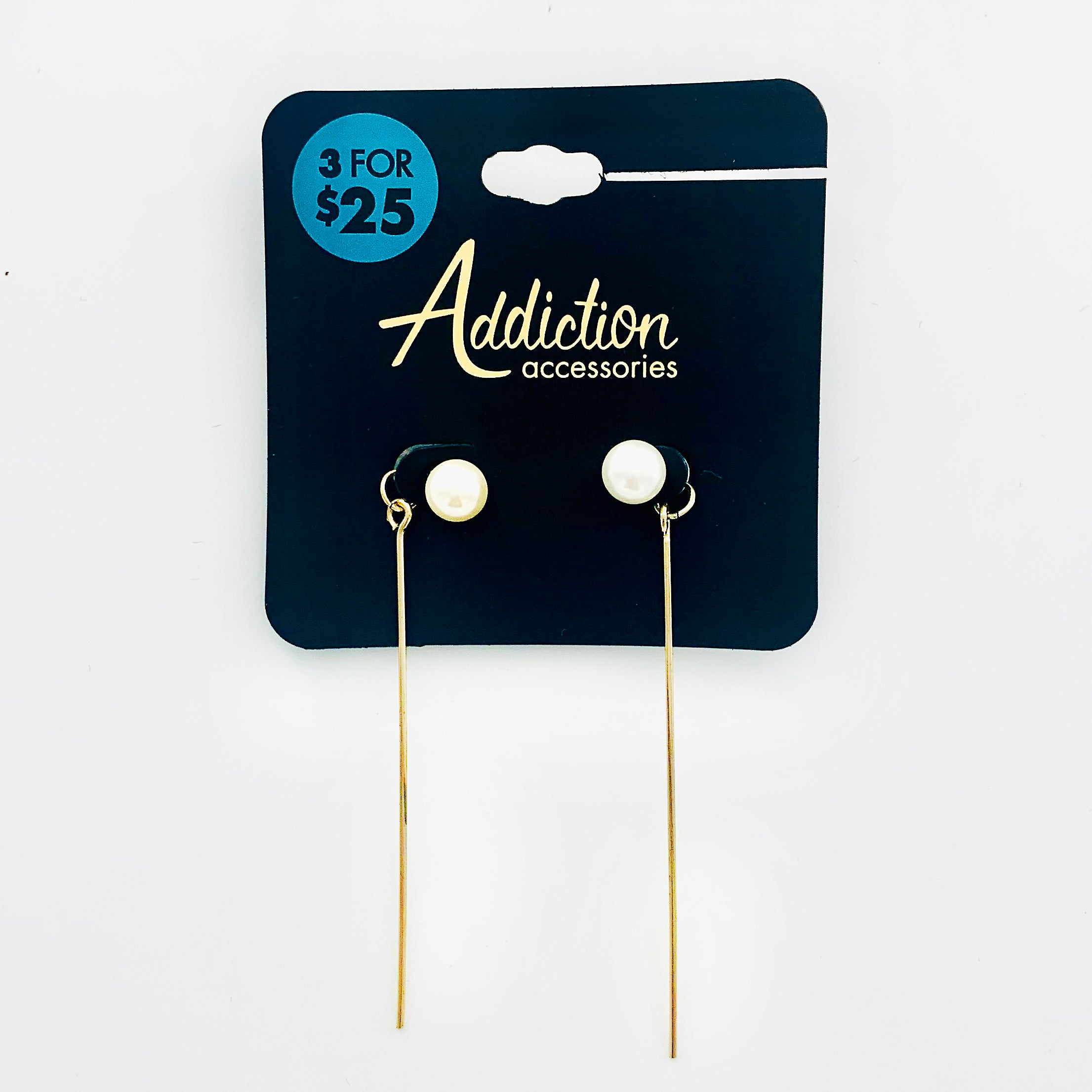 Pearl studs with thin gold sticks