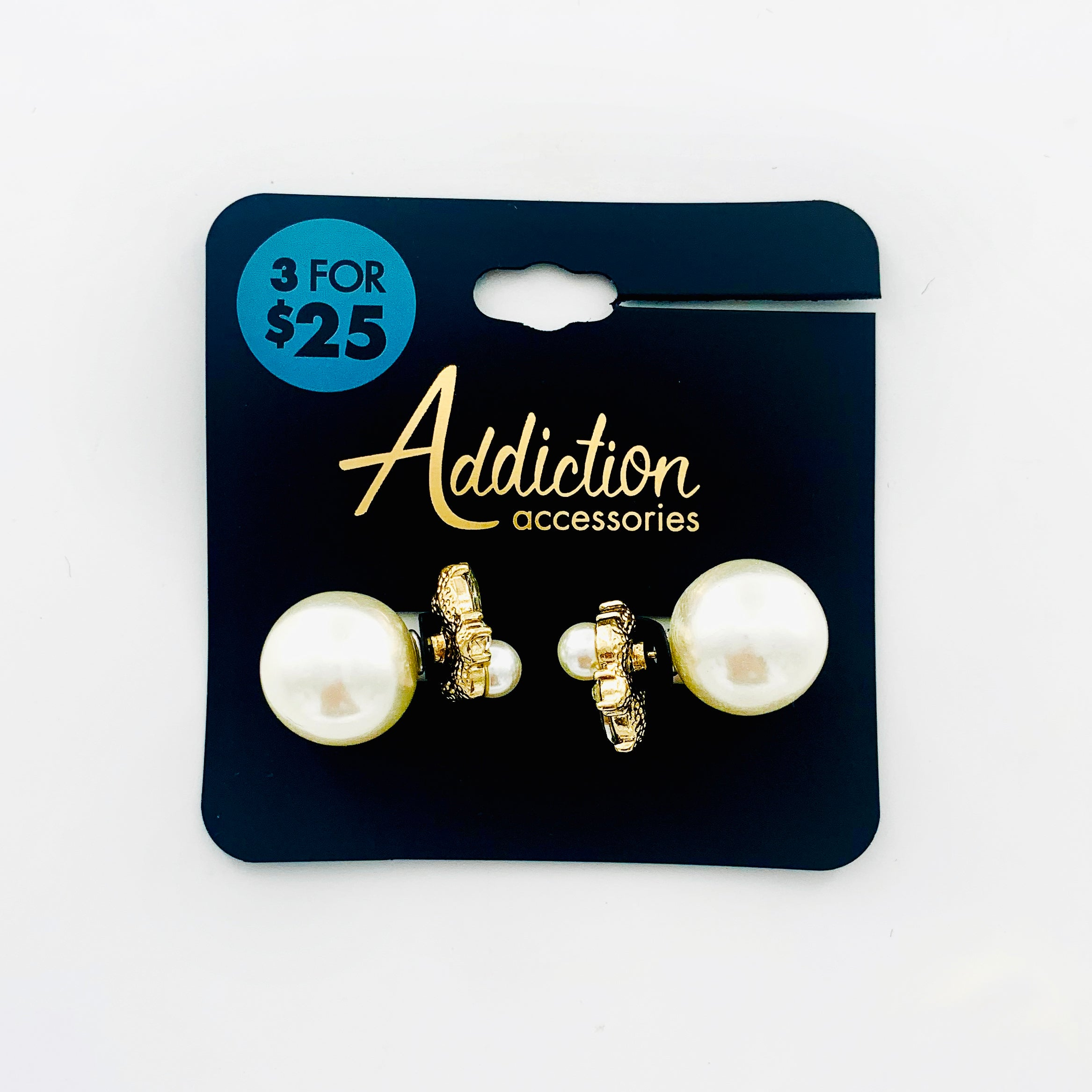 Pearl studs with diamante stones