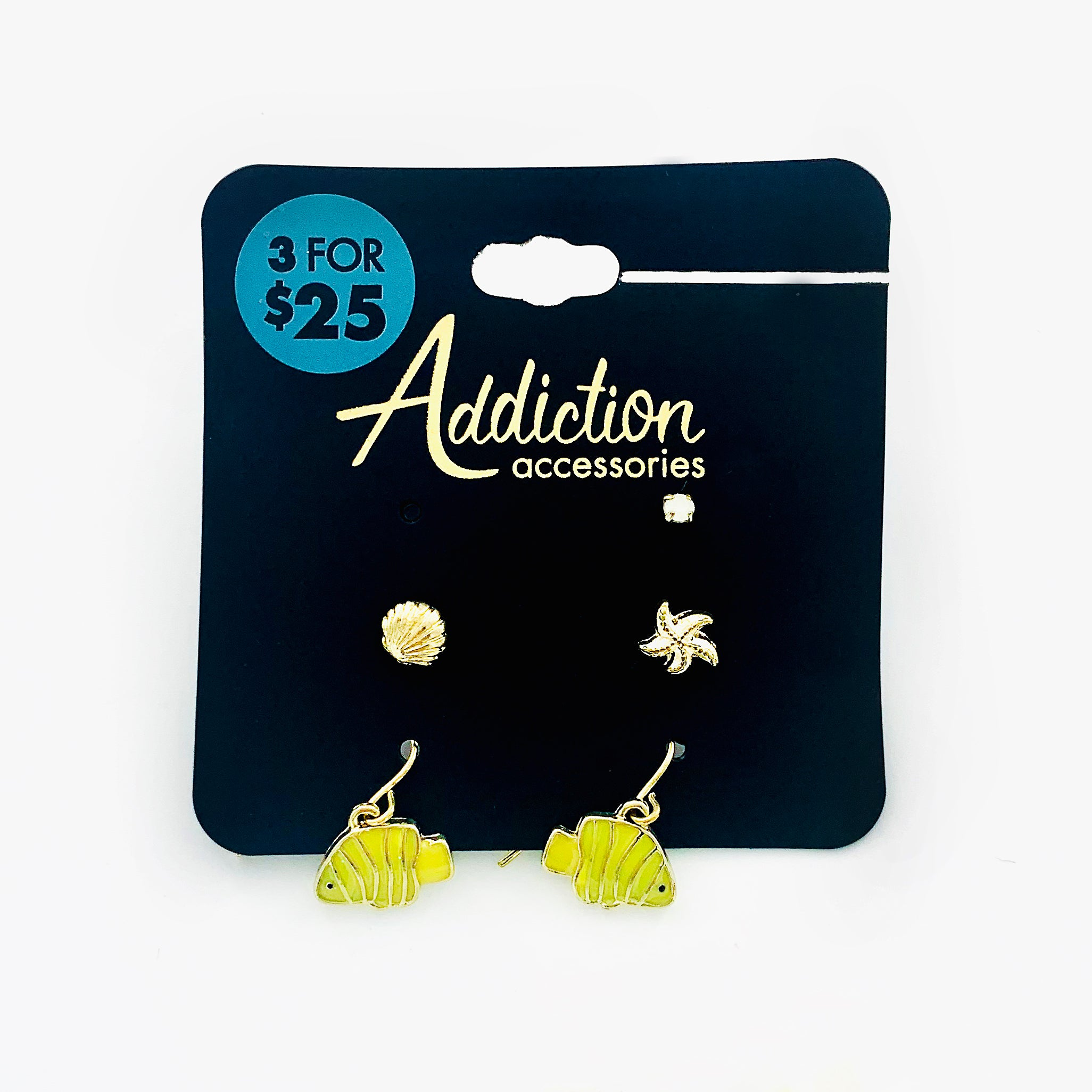 Nemo ear studs in yellow with sea shells