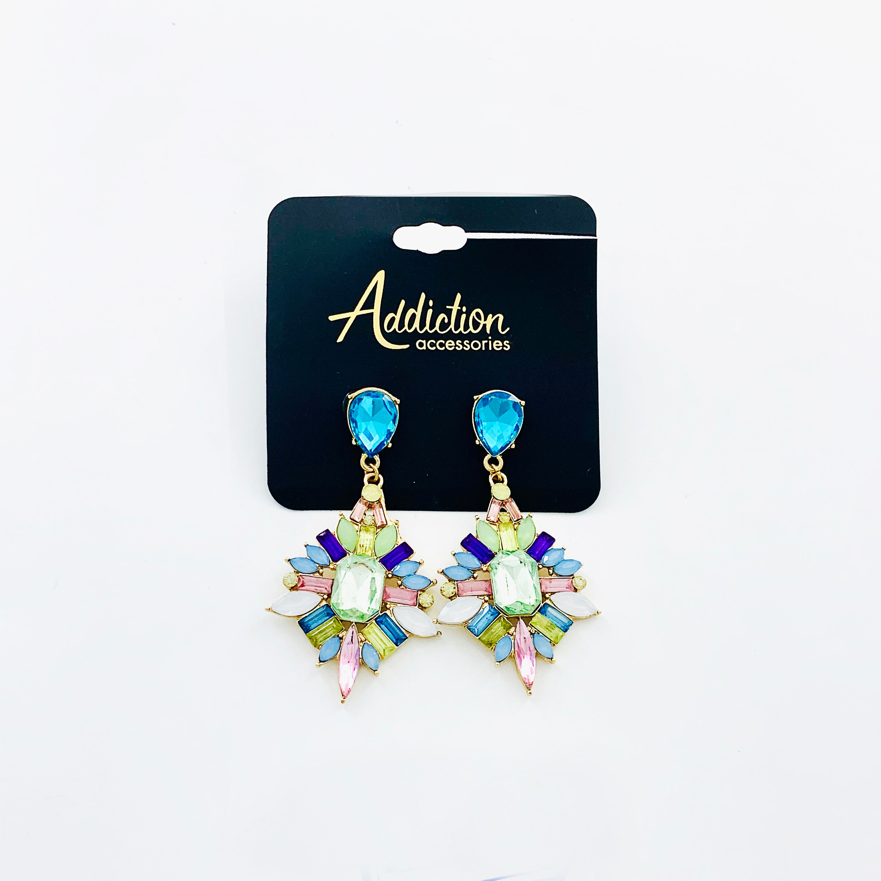 Art-deco inspired dangling earrings with multicolour stones