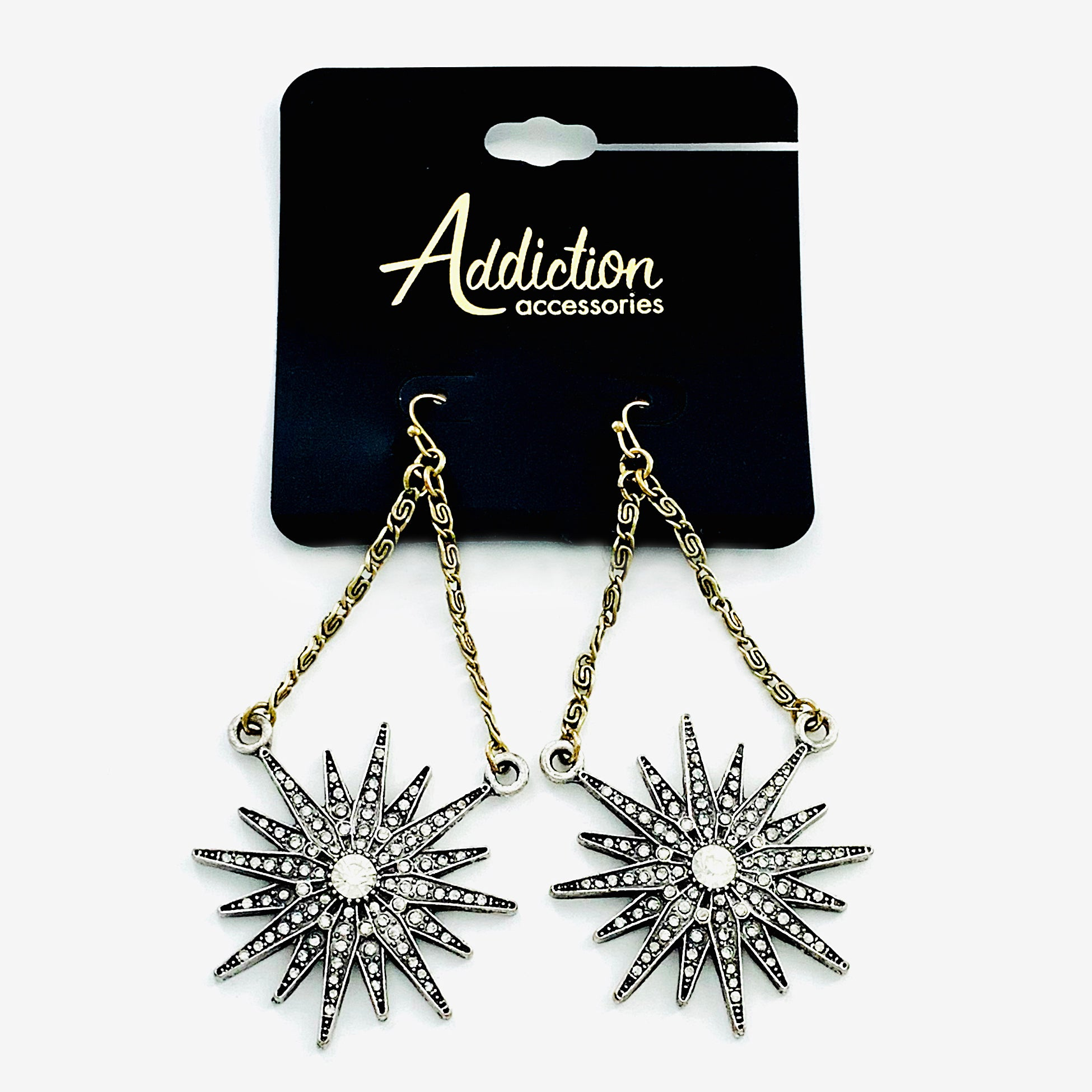 Starry starburst earrings with diamante stones
