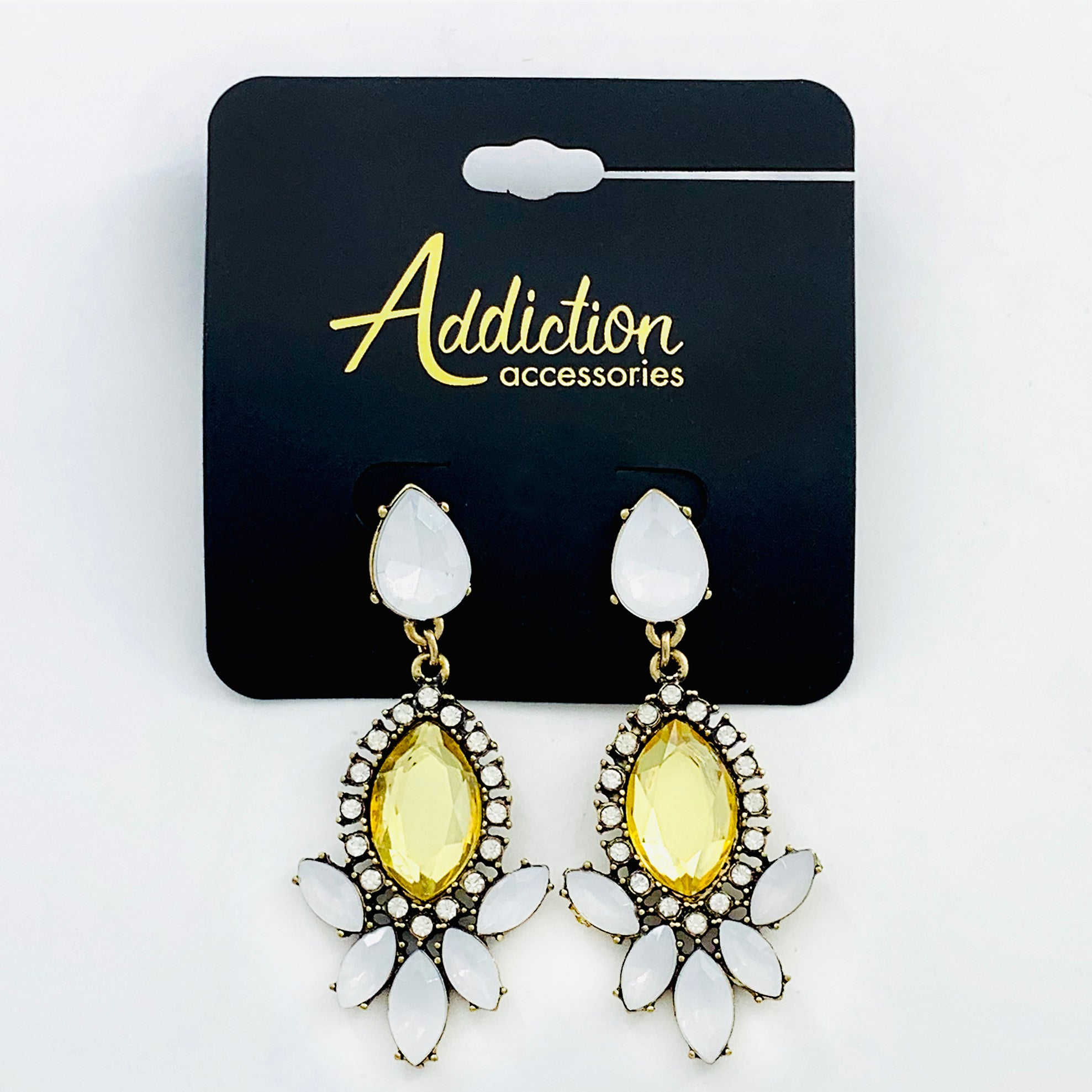 Earrings with Faceted Yellow and white stones
