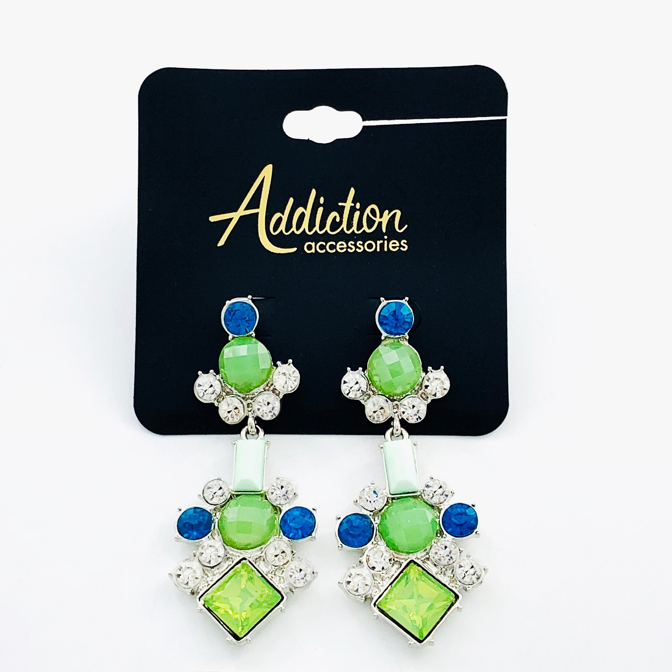 Earrings with green, blue stones and diamantes