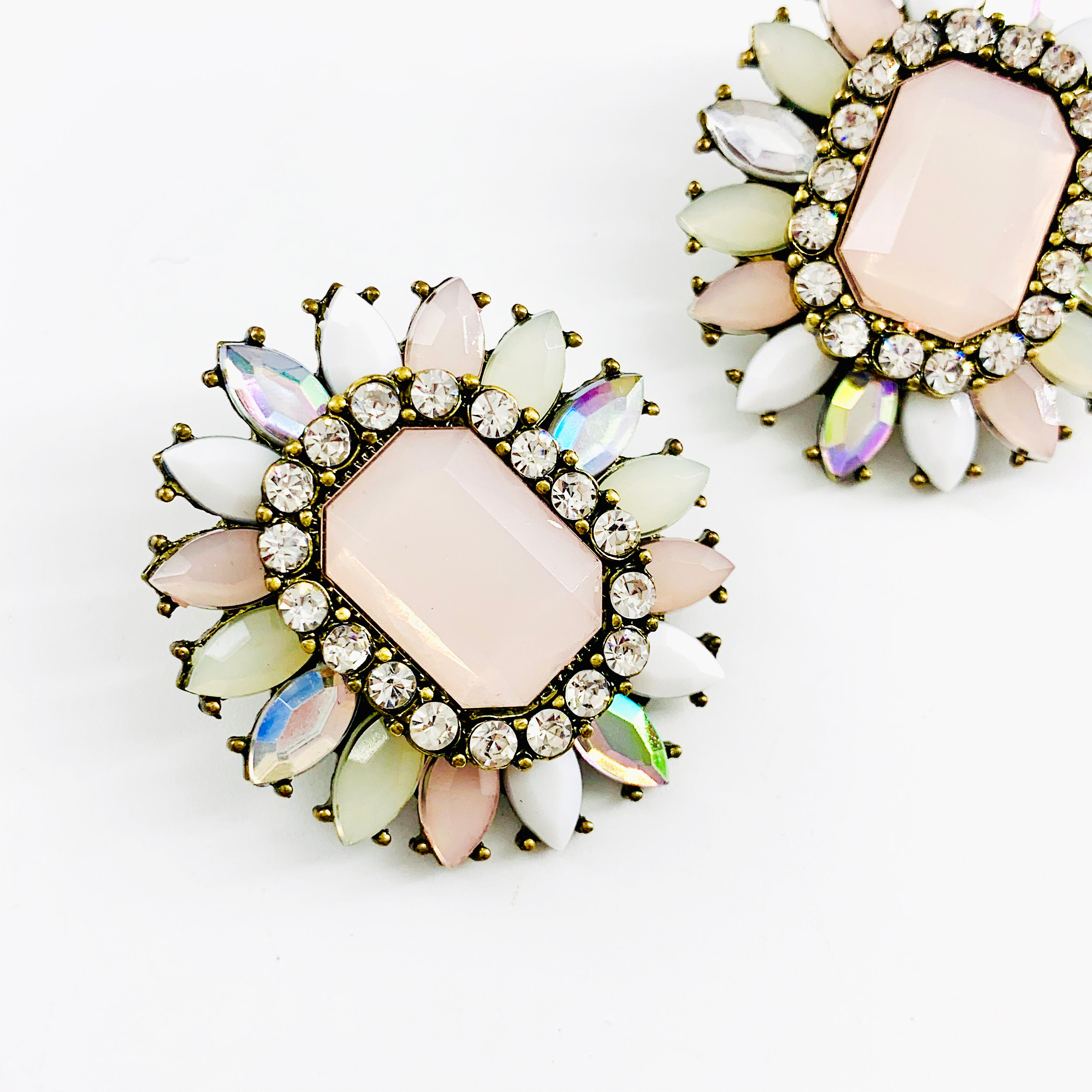 Pale pink flower earrings with diamante stones
