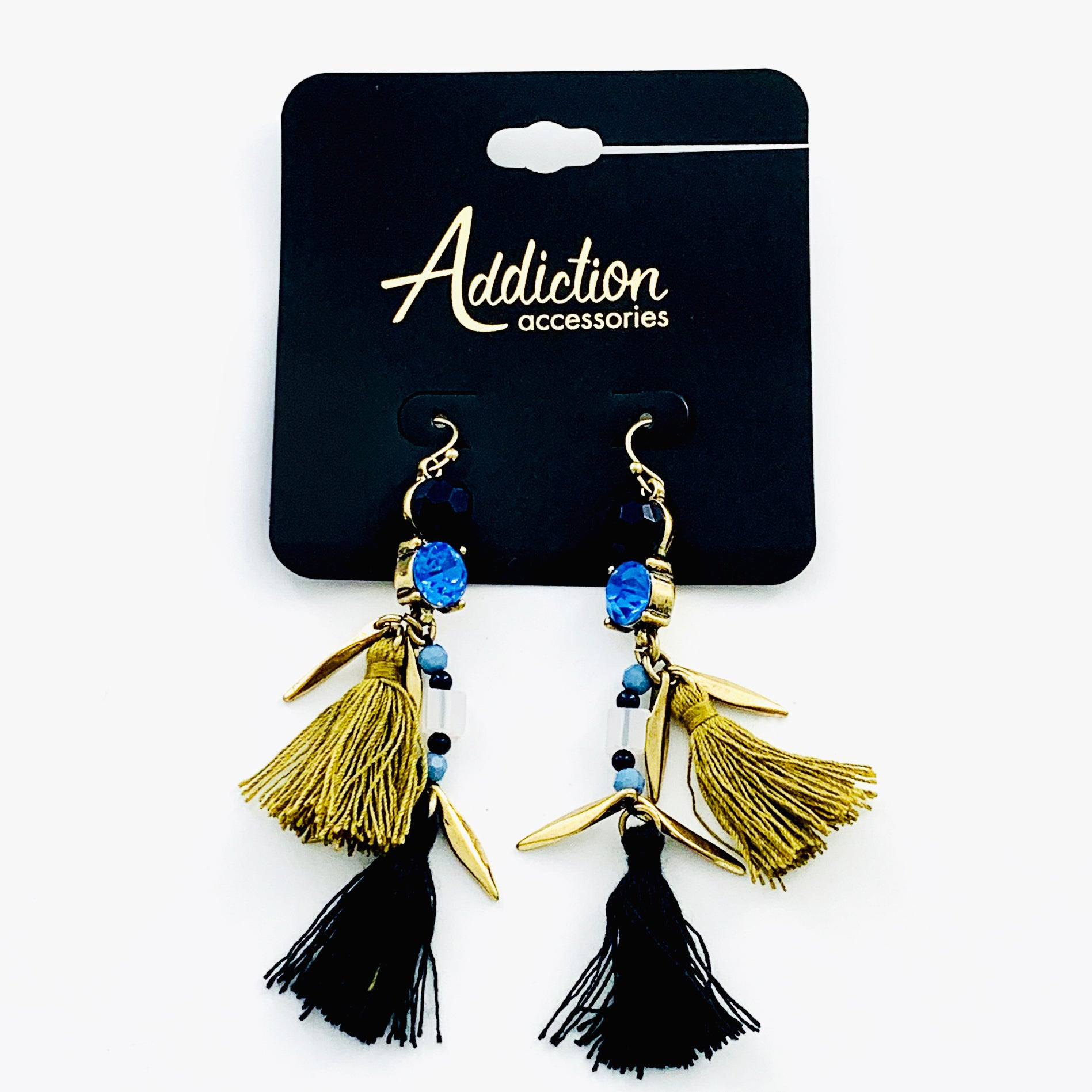 Navy and gold earrings with navy and tan tassels
