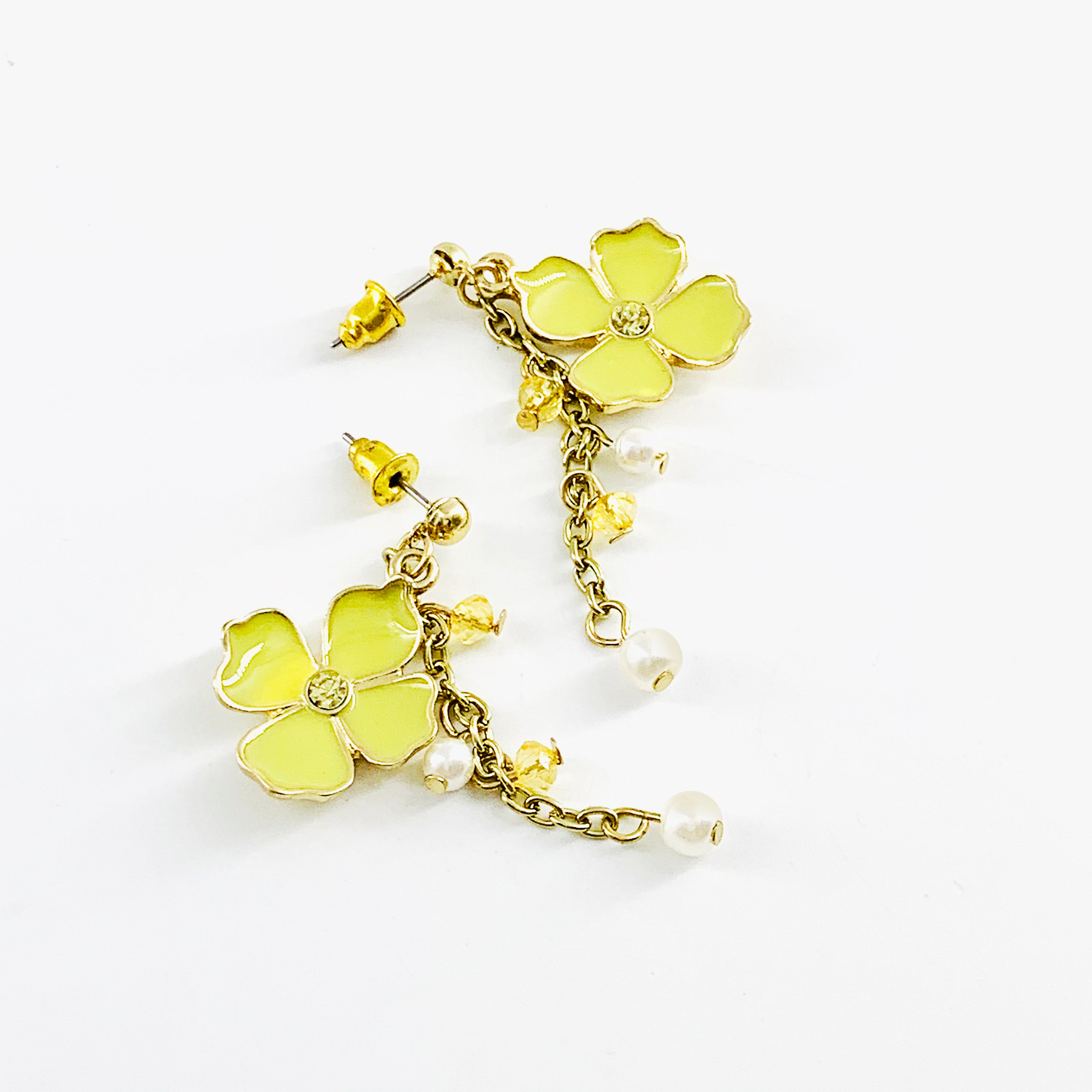 Enamel painted yellow flower with beads