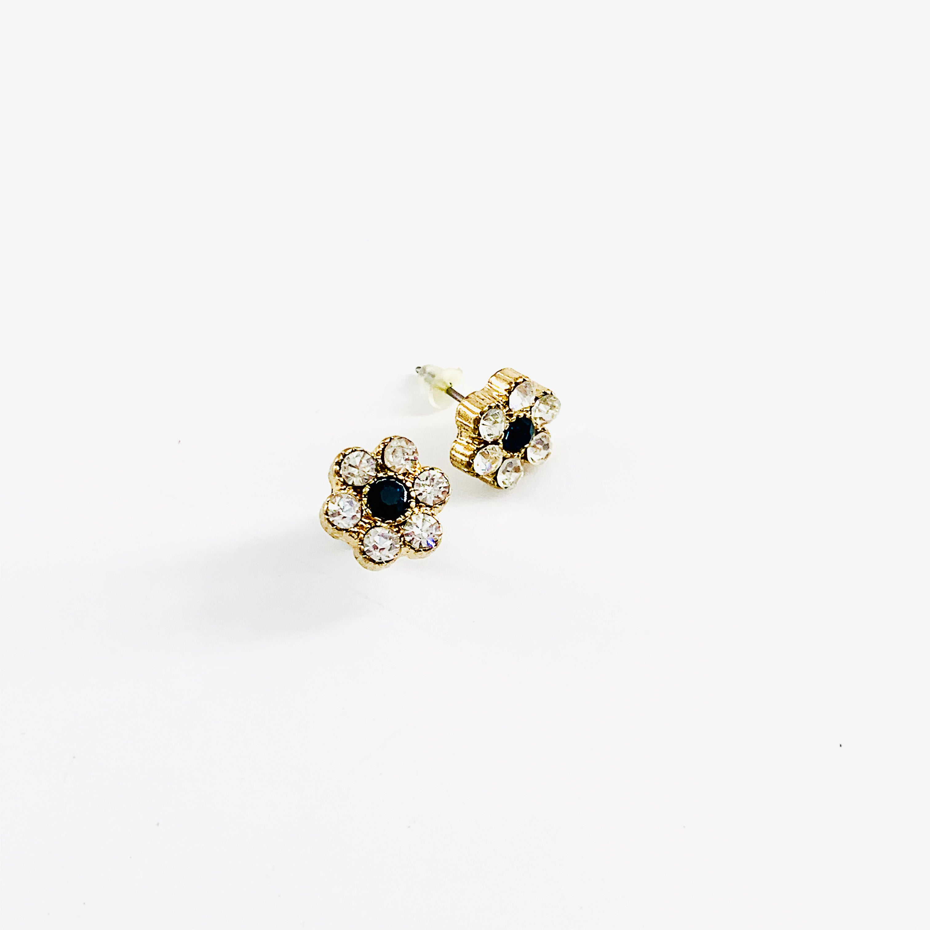 Diamante flower stud earrings