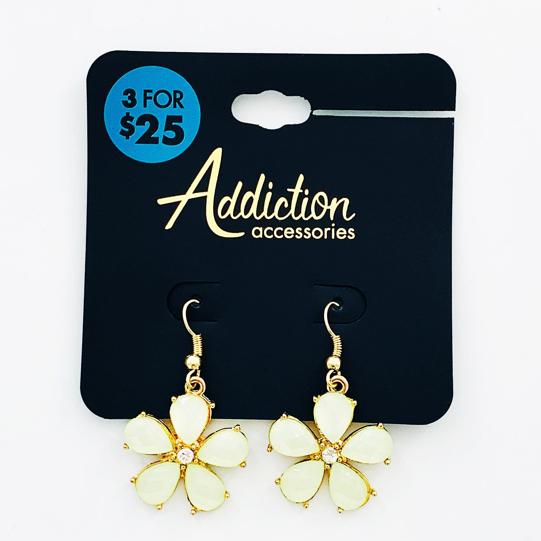 Pale yellow flower earrings with teardrop petals