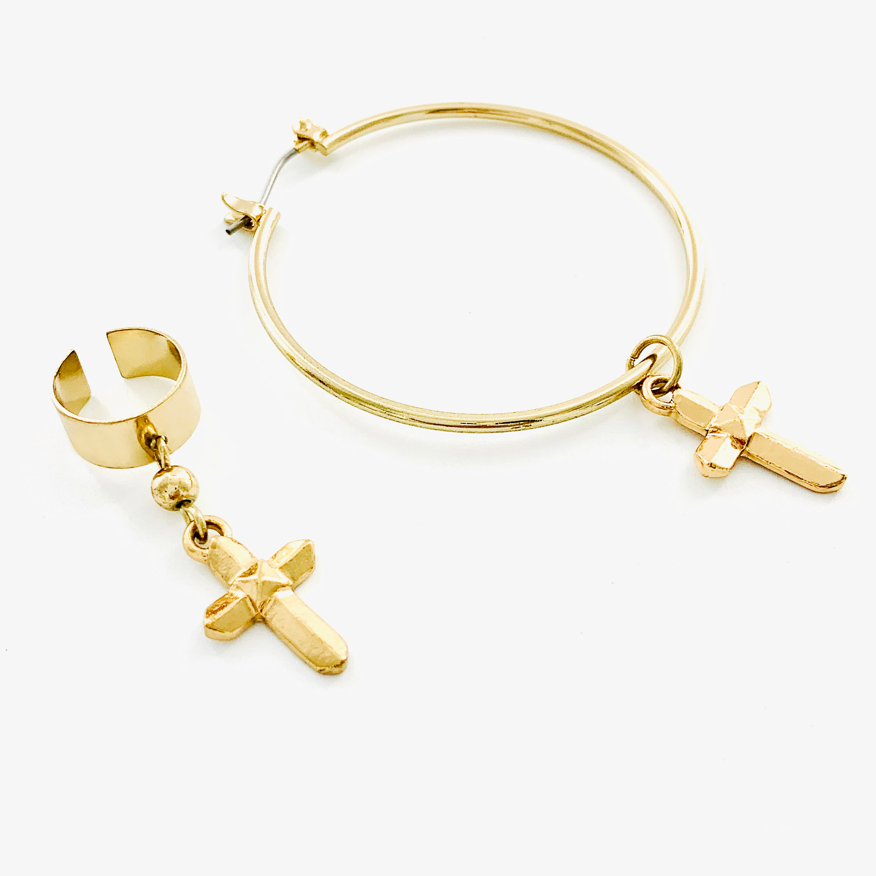 Gold hoop earring with cross charm and ear cuff