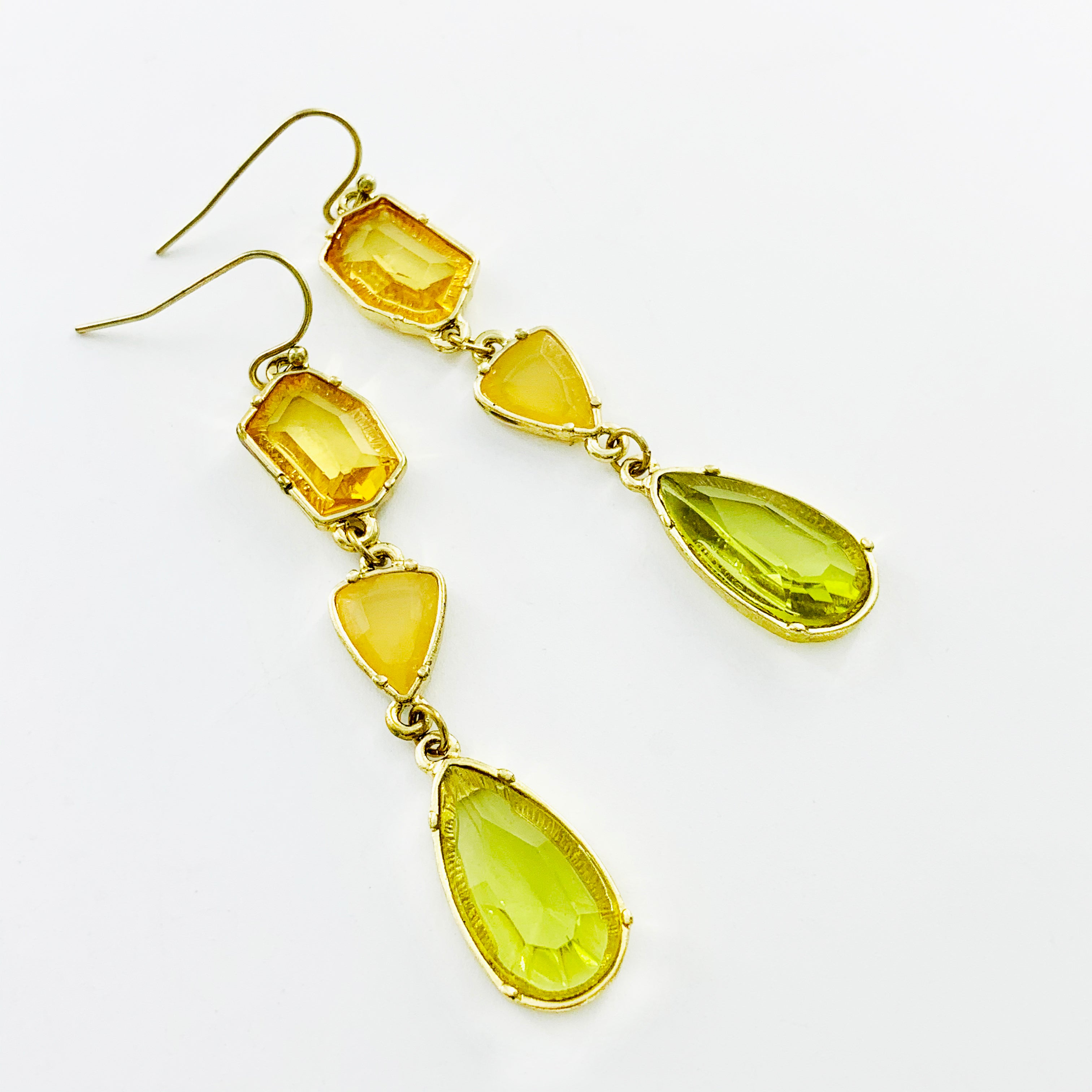 Dangling yellow and green stone earrings
