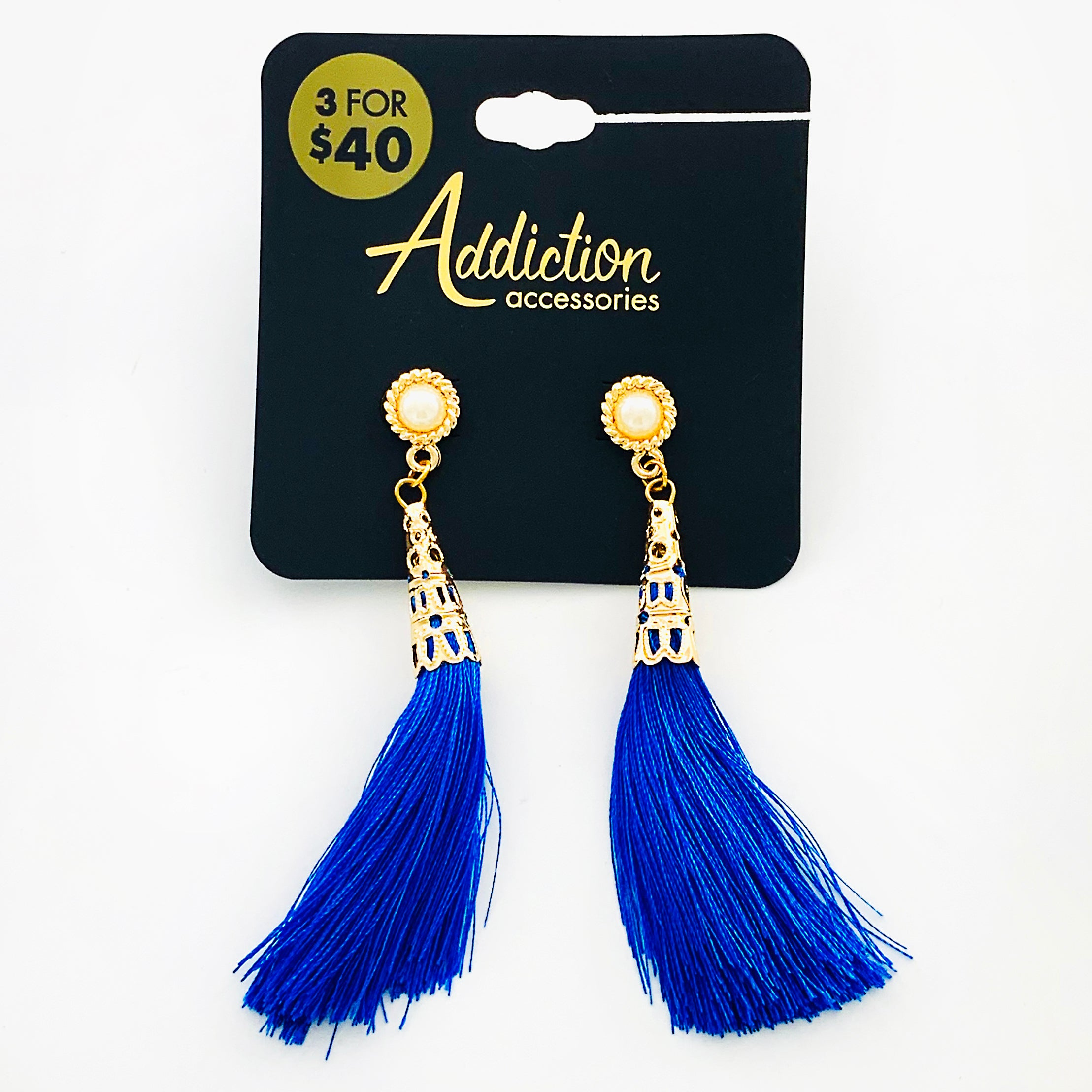 Gold earrings with royal blue tassels