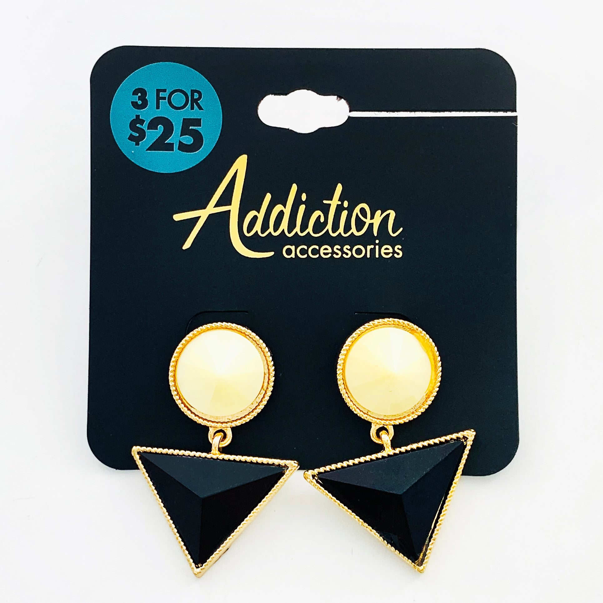 Earrings with white stones and black facet triangles