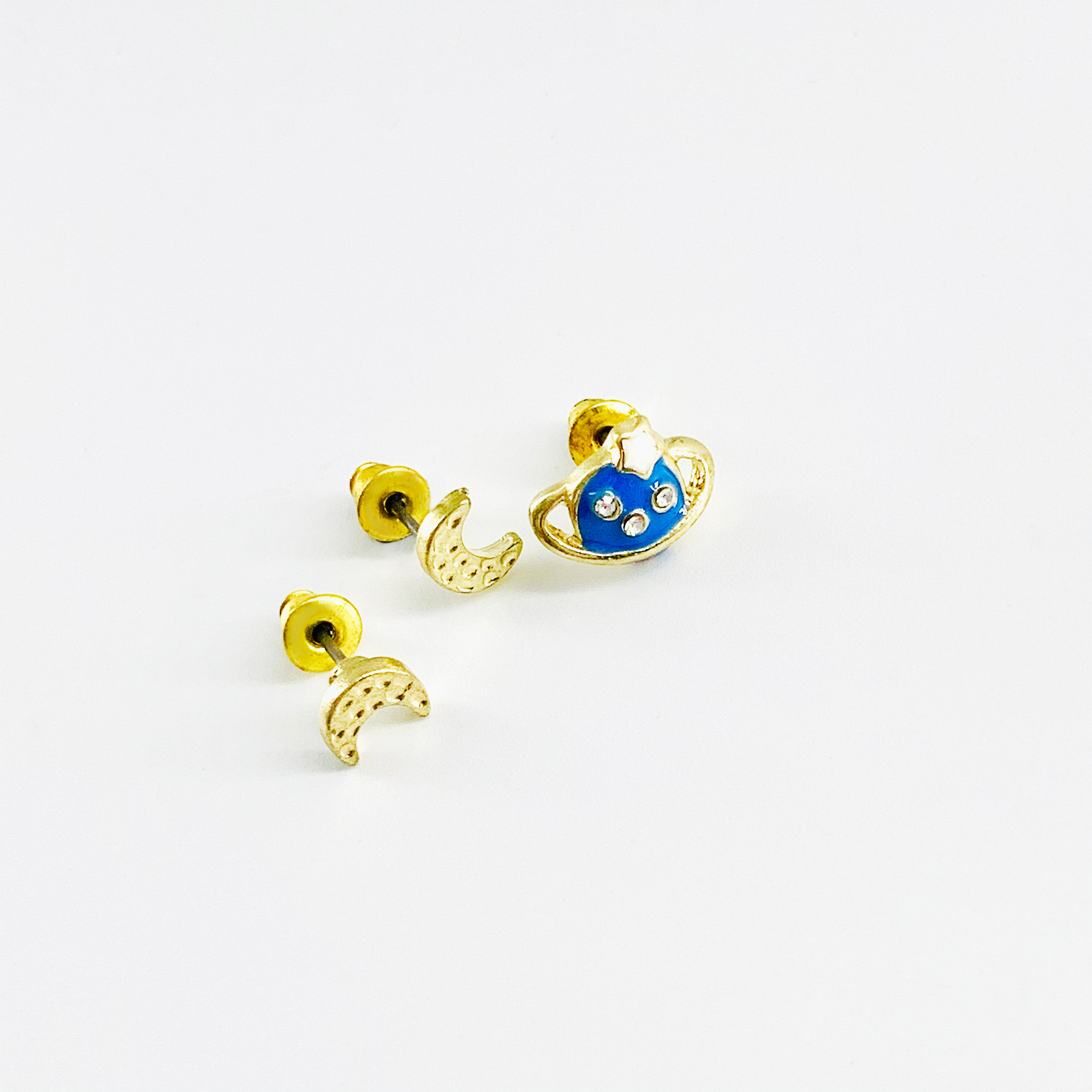 Saturn and crescent moon ear studs