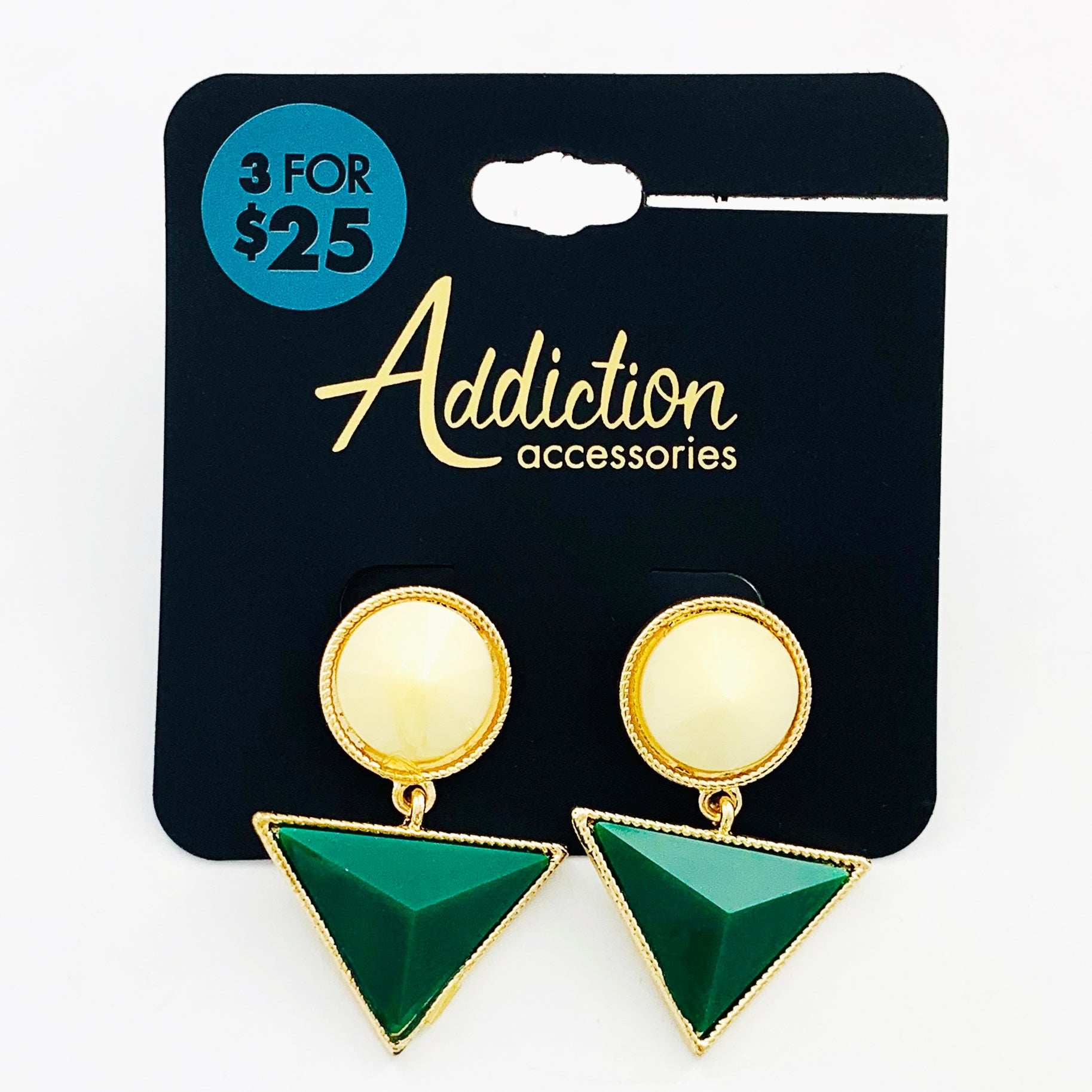 Earrings with white stones and green facet triangles