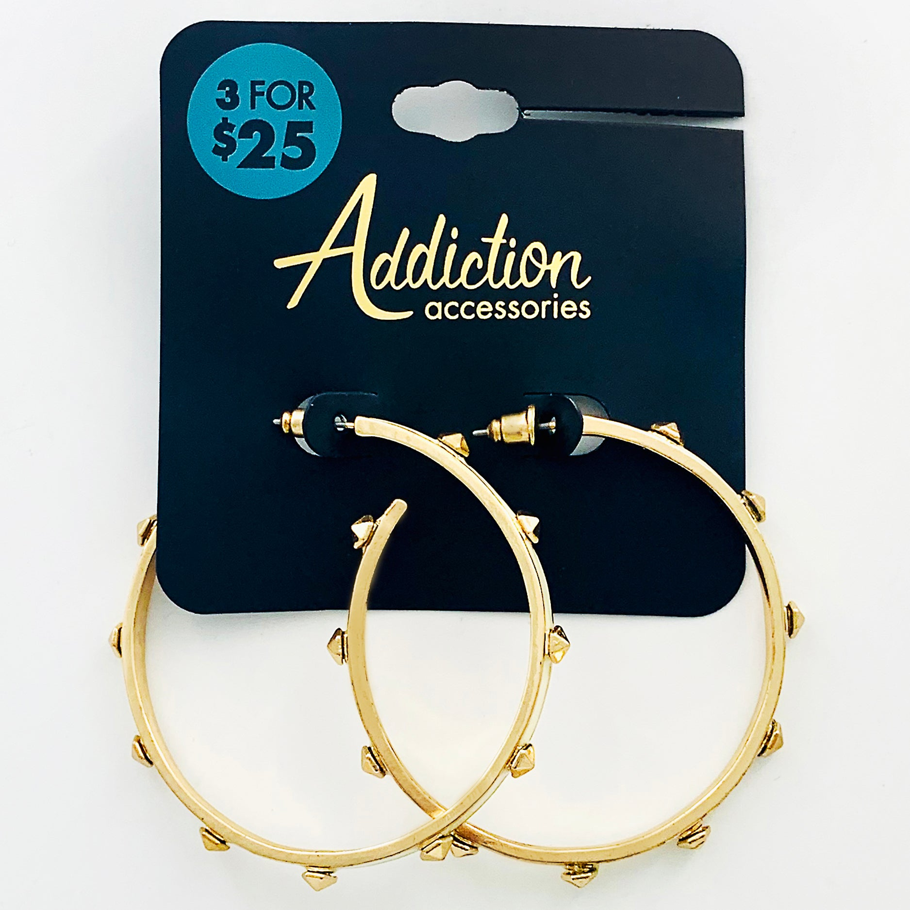 Hoop earrings with white enamel and gold studs