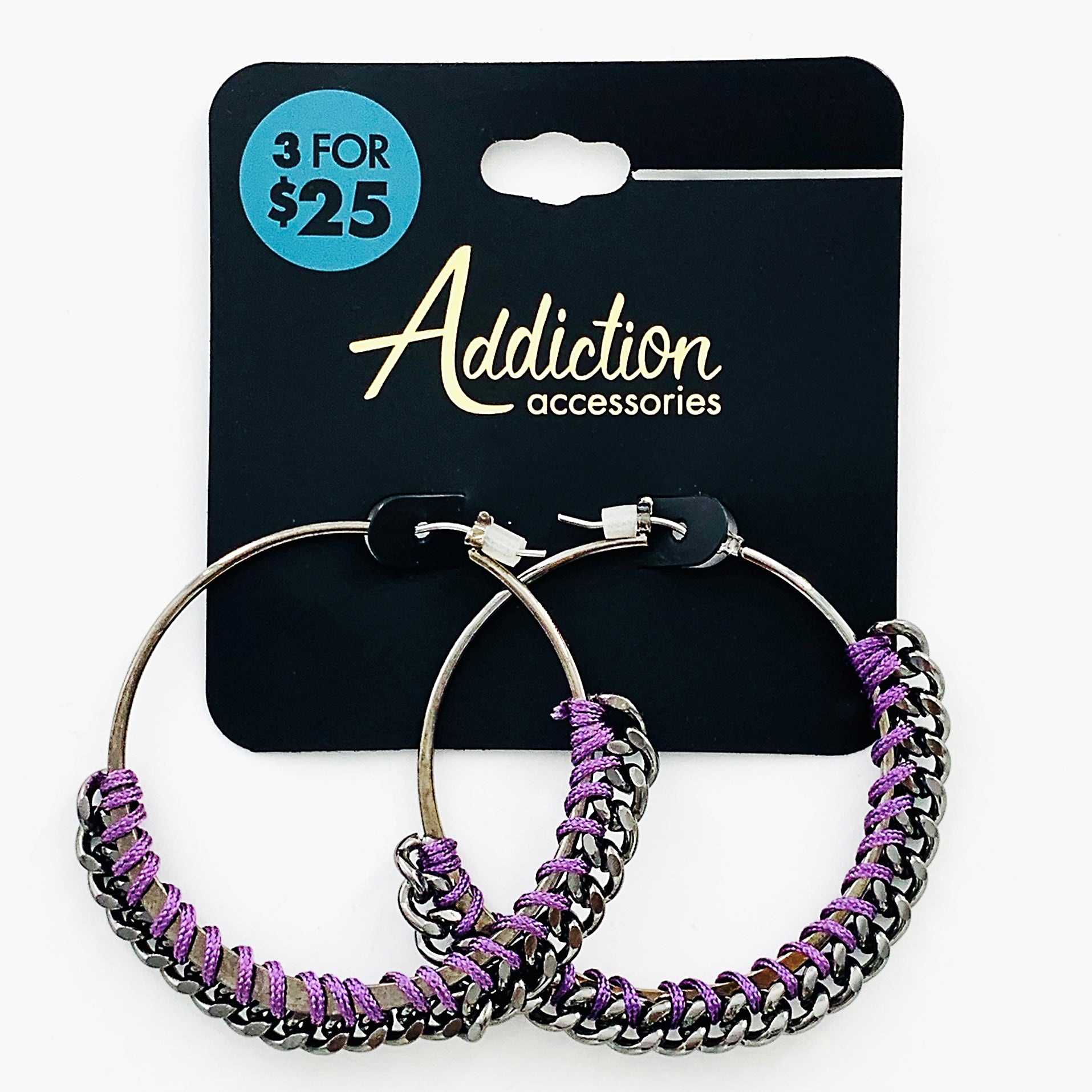 Large gunmetal grey hoops with purple rope