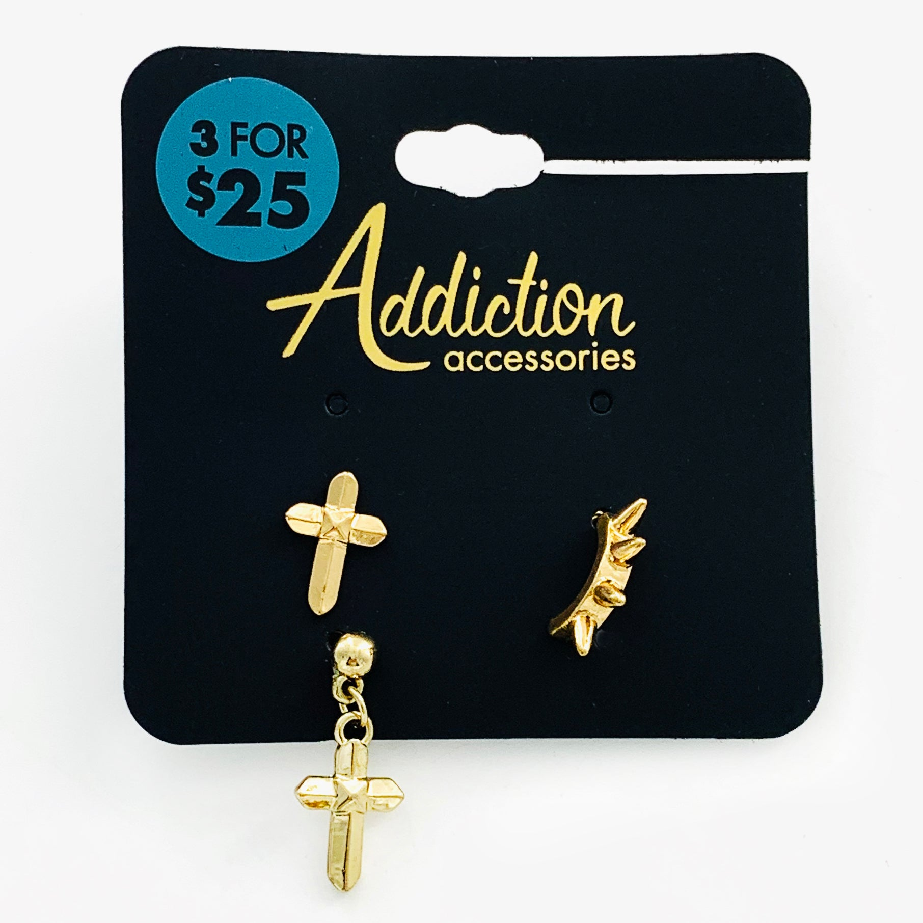 Gold earrings with cross and spikes