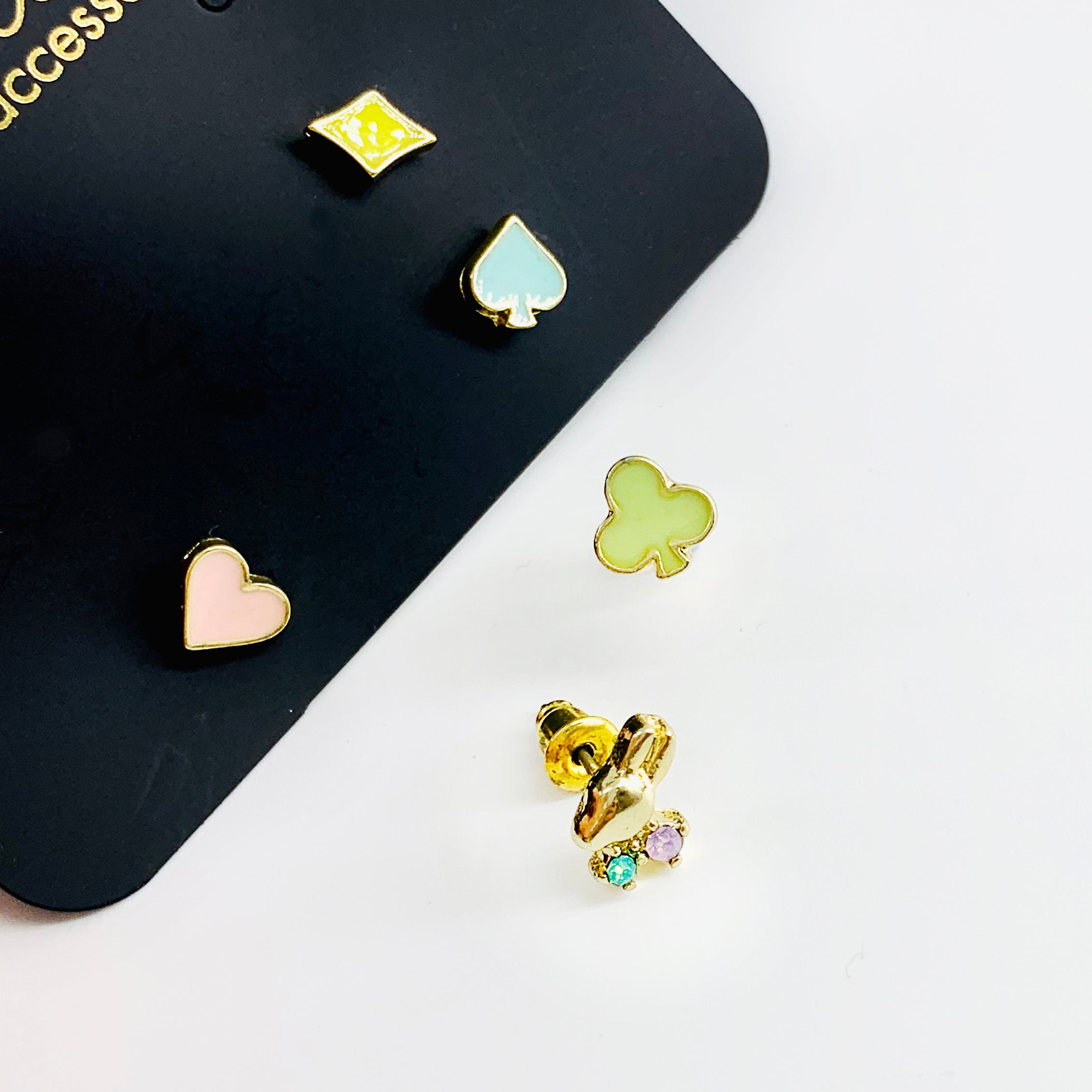 Rabbit, aces, spades pastel-coloured stud earrings
