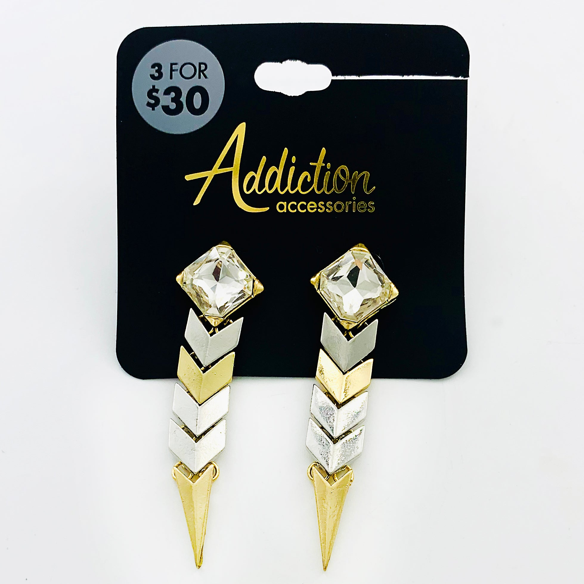 Silver and gold chevron dangling earrings