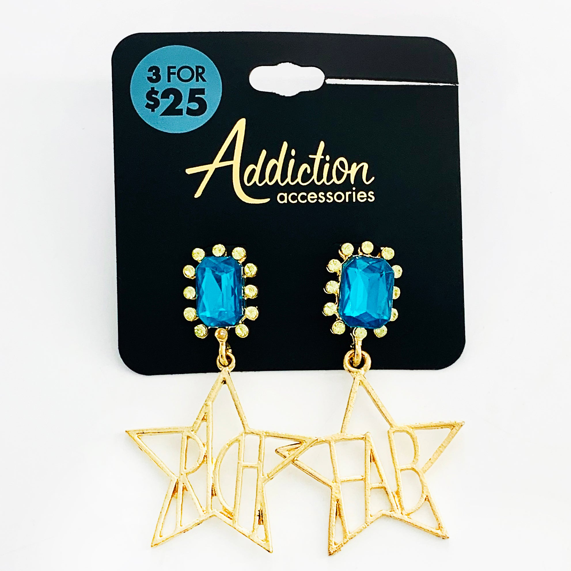 Fabulous star earrings with blue stone