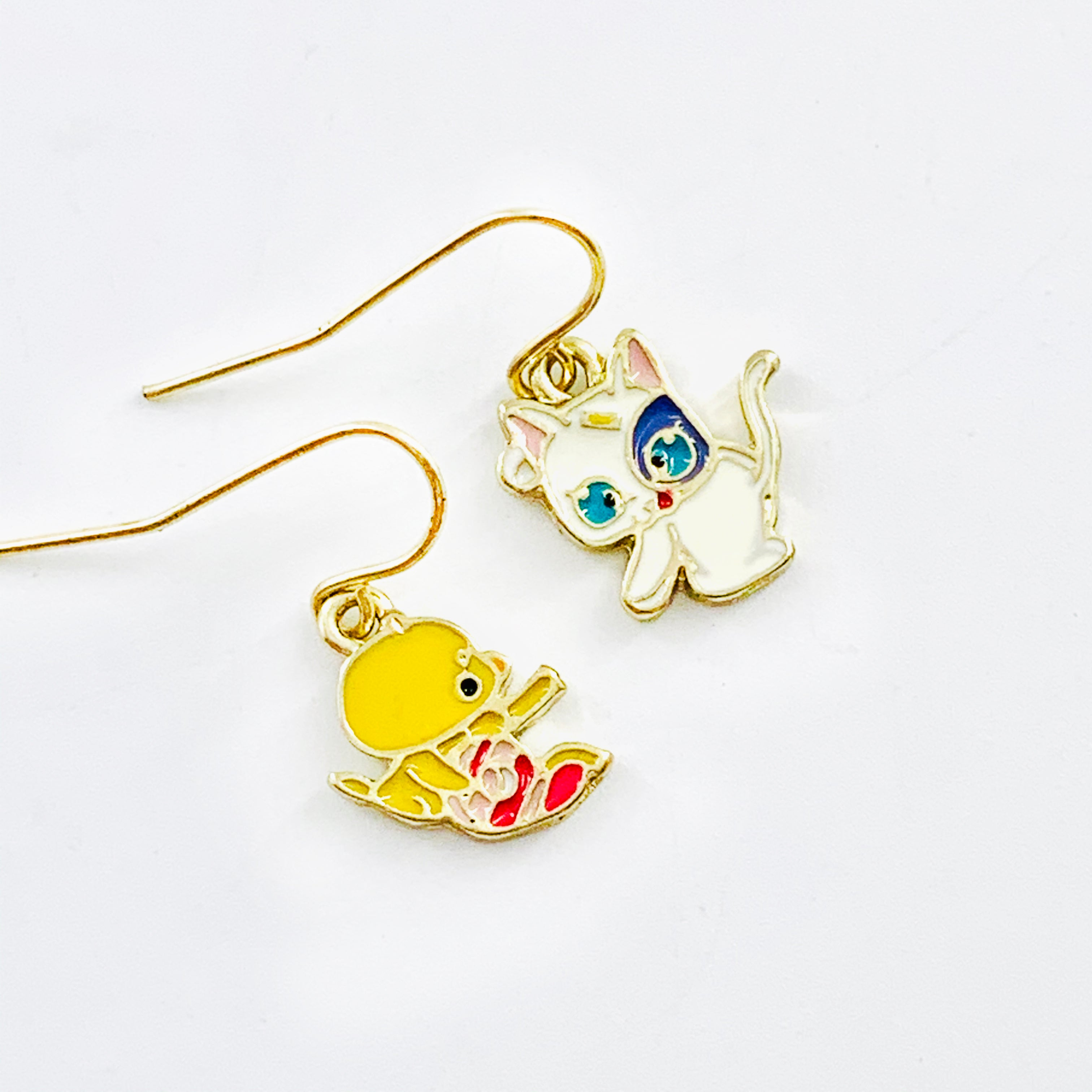 Cute chick and cat earrings