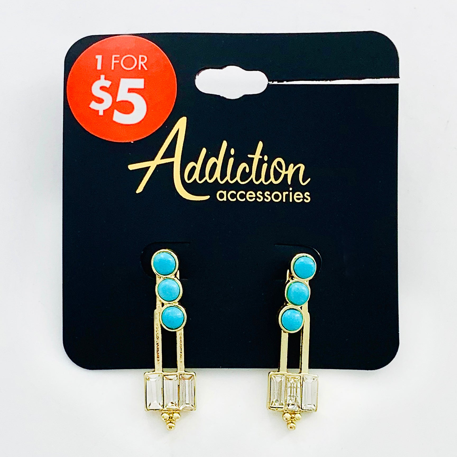 Gold earrings with three turquoise stones
