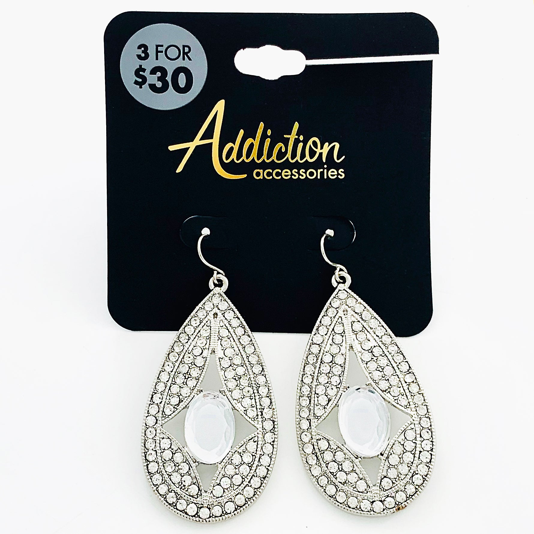Art-deco inspired silver diamante earrings