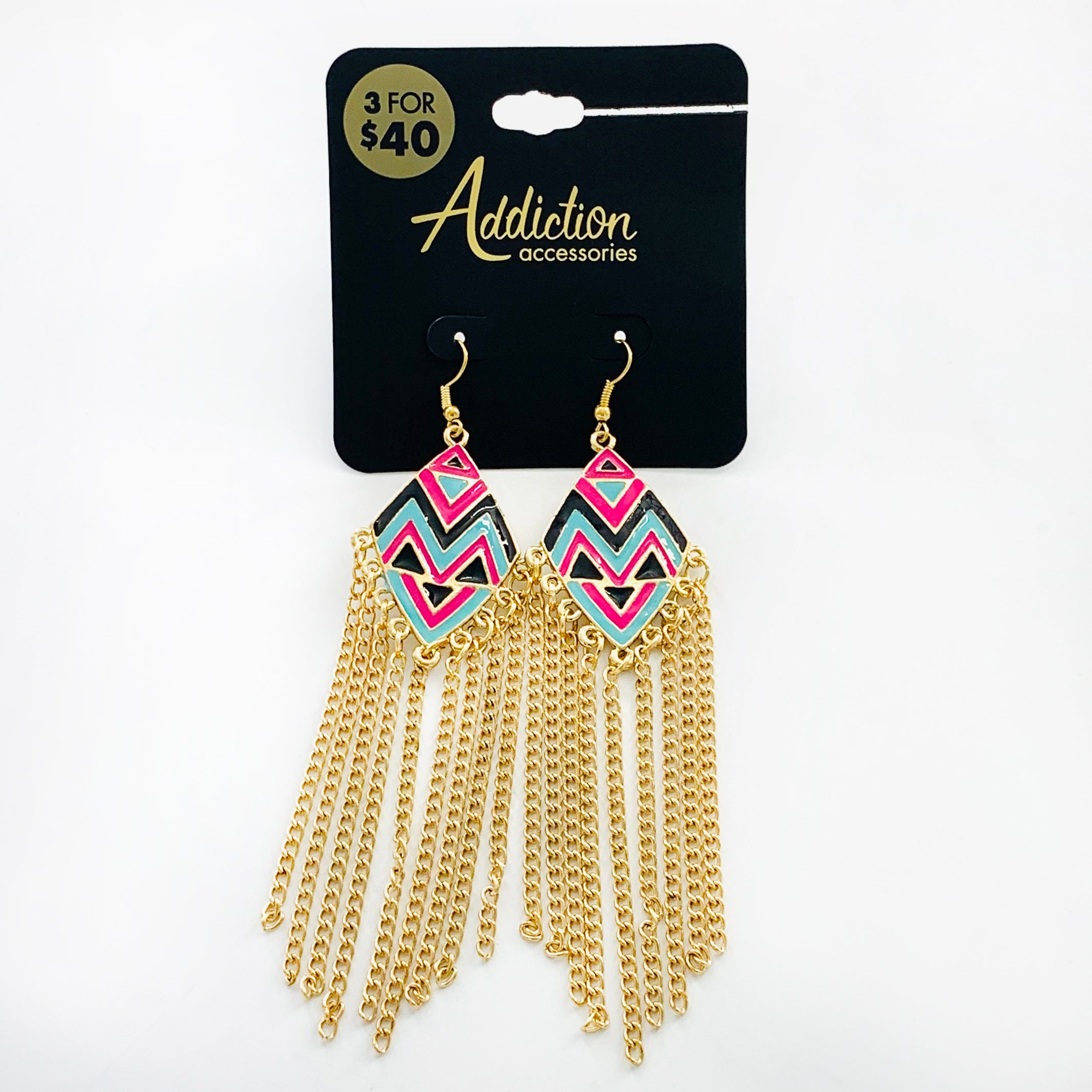 Pink and turquoise aztec patterns with dangling chains