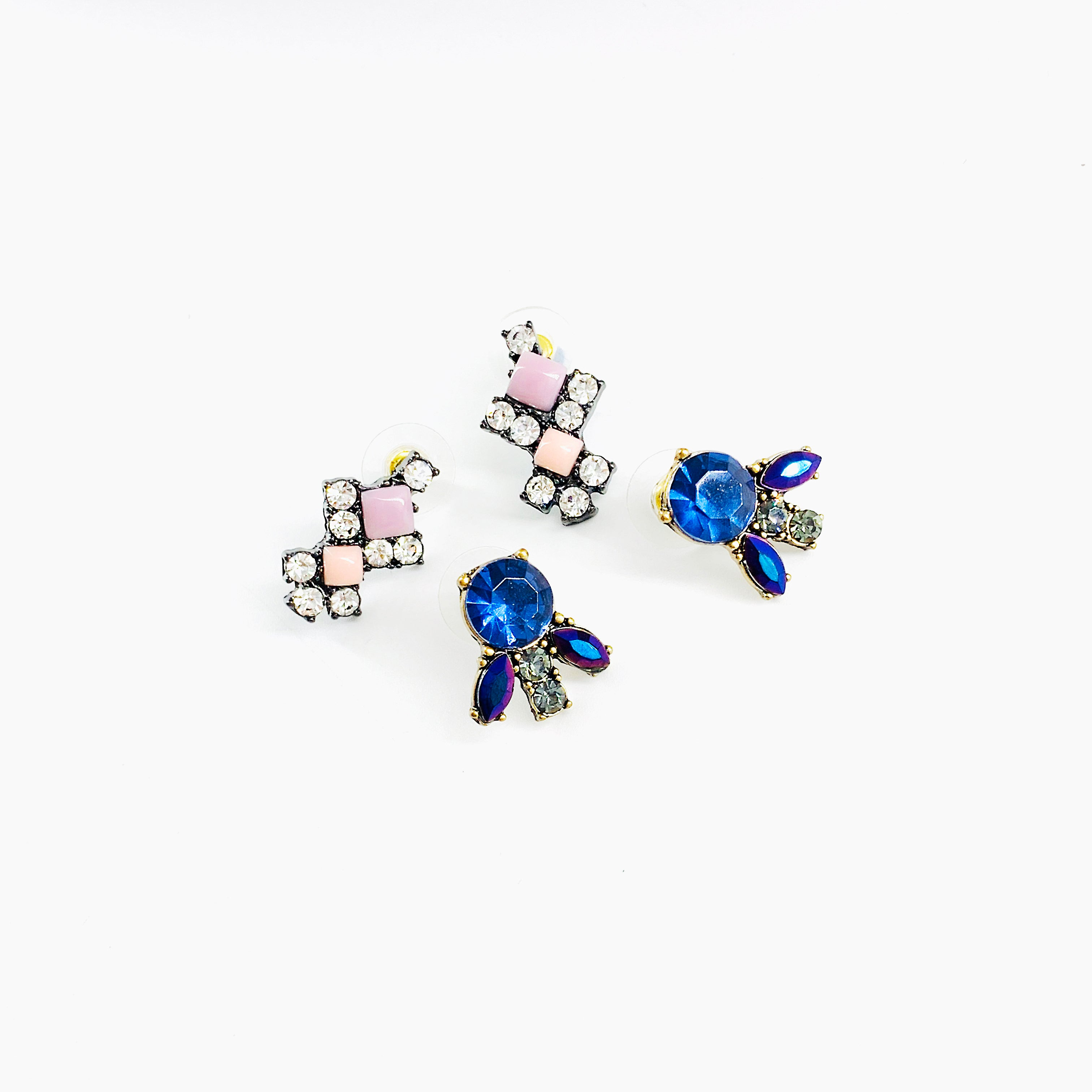 Double pair of earrings with pink and blue stones