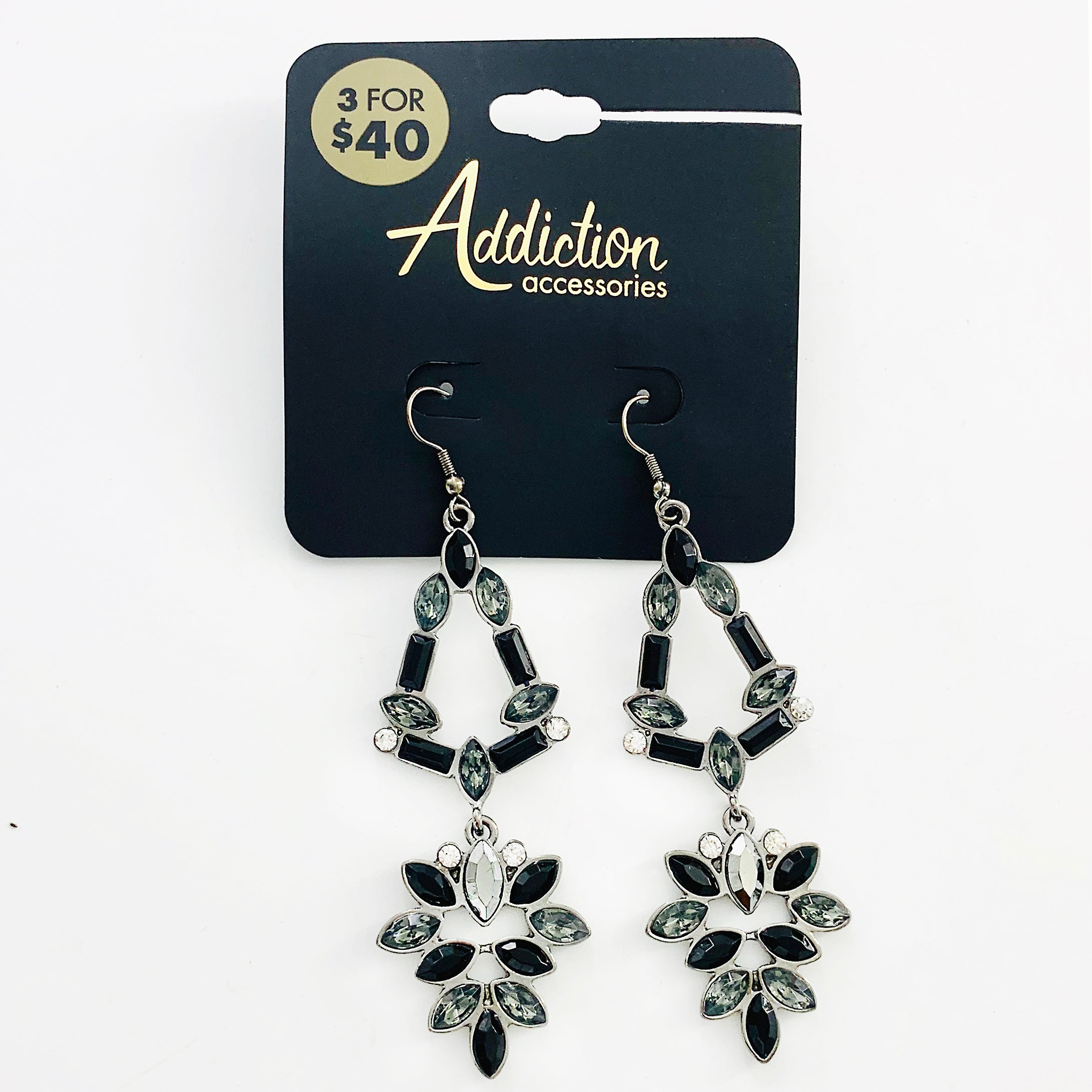 Dangling earrings with grey and black facet stones