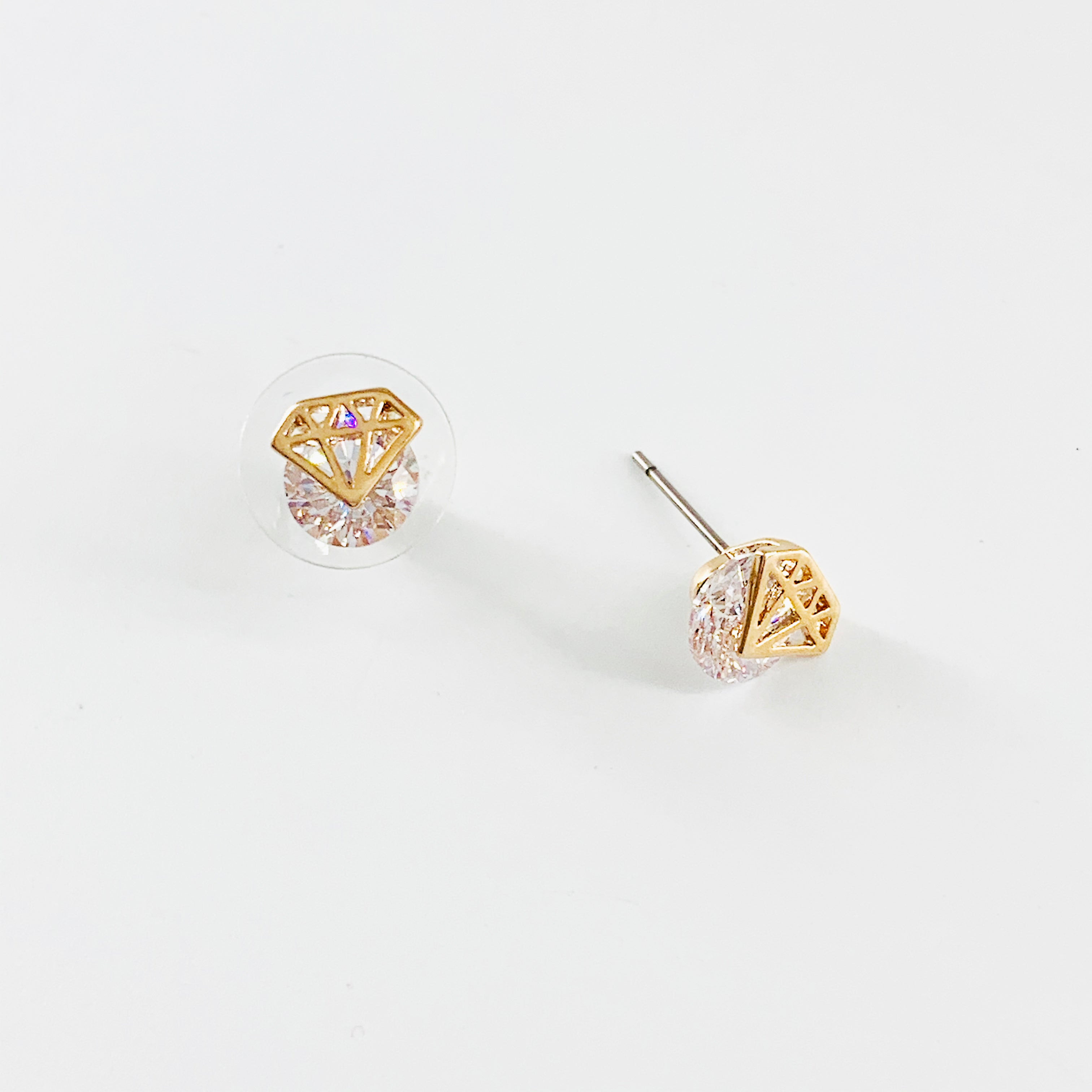 Diamond shaped ear studs with diamante stones
