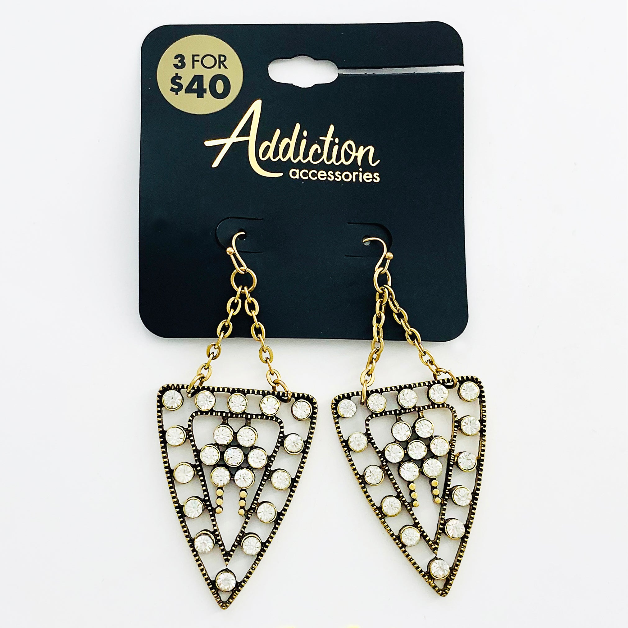 Triangle earrings with diamante stones