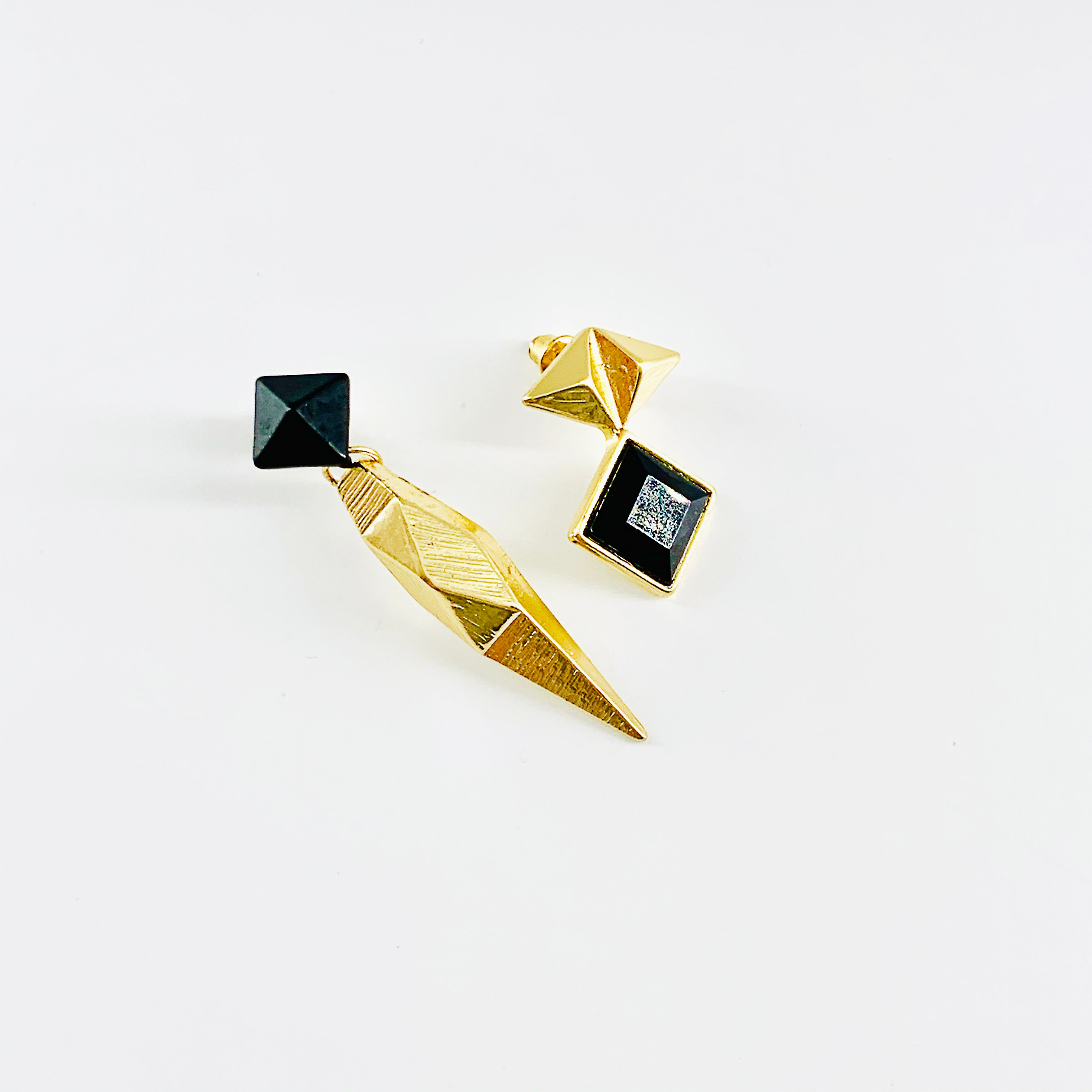 Black and gold asymmetrical earrings