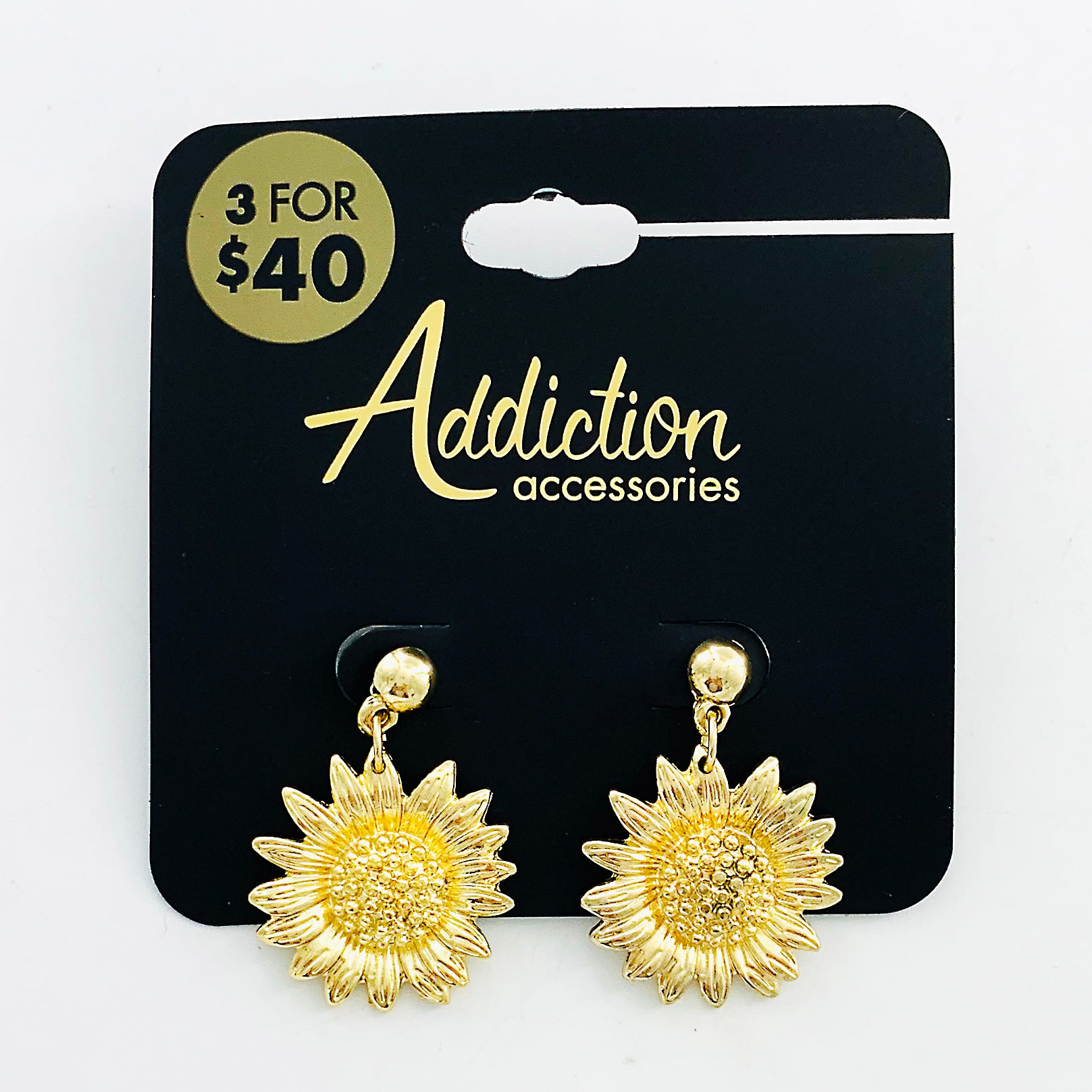 Gold metal earrings with sunflower design