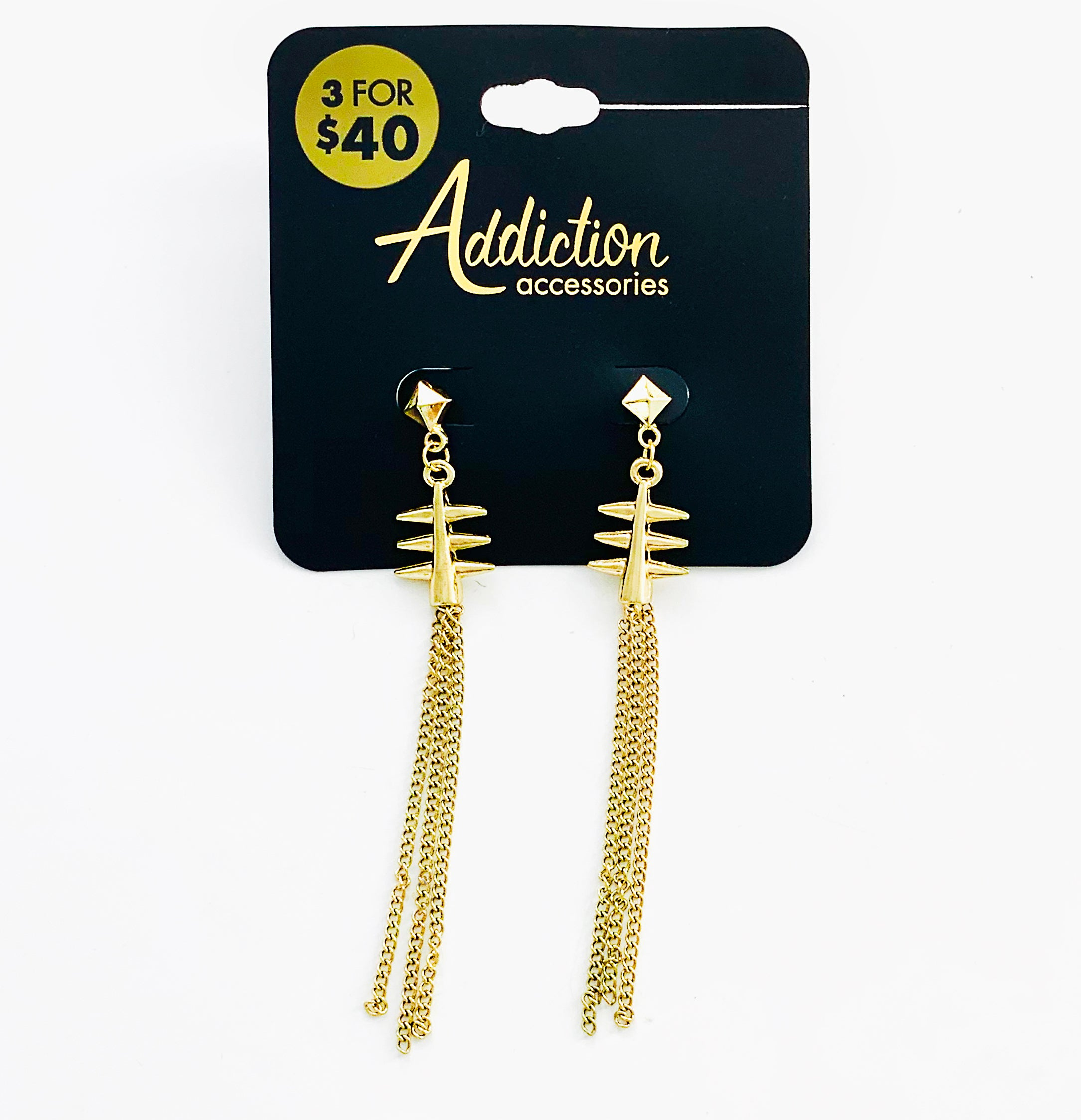 Gold fishbone earrings with dangling chains